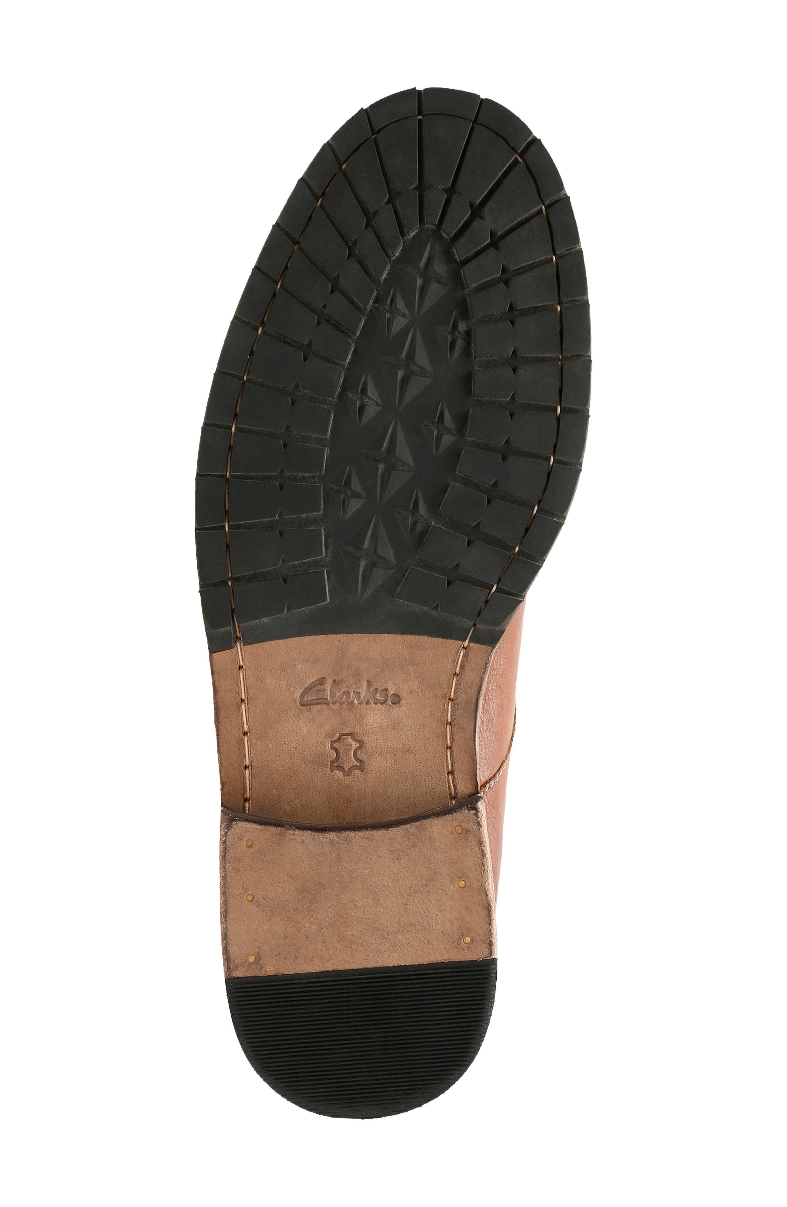 Clarkdale Bud Plain Toe Boot,                             Alternate thumbnail 4, color,                             DARK TAN LEATHER