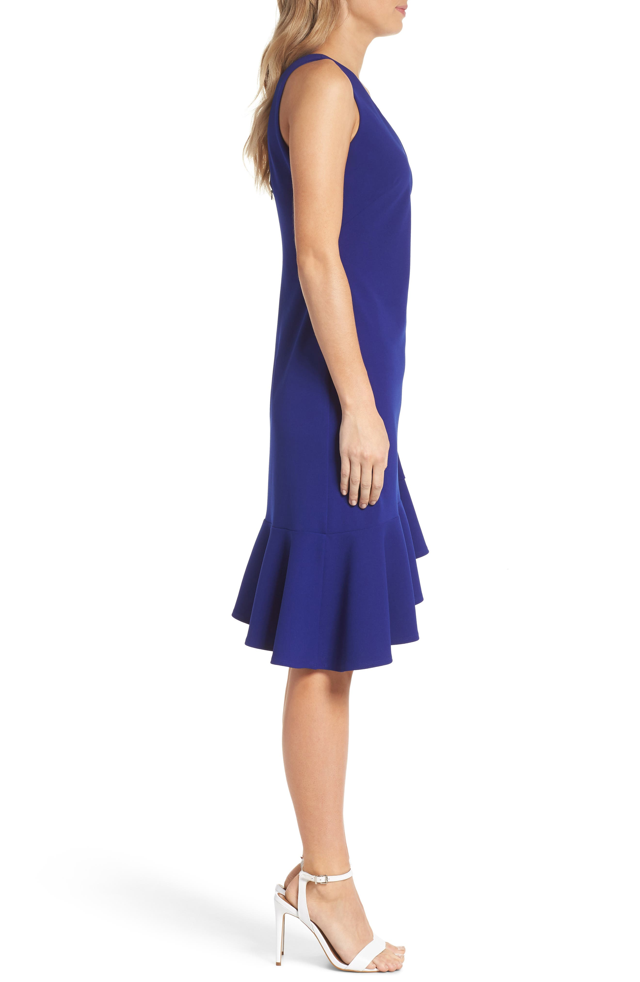 VINCE CAMUTO,                             Asymmetrical Ruffle Hem Scuba Crepe Dress,                             Alternate thumbnail 3, color,                             430