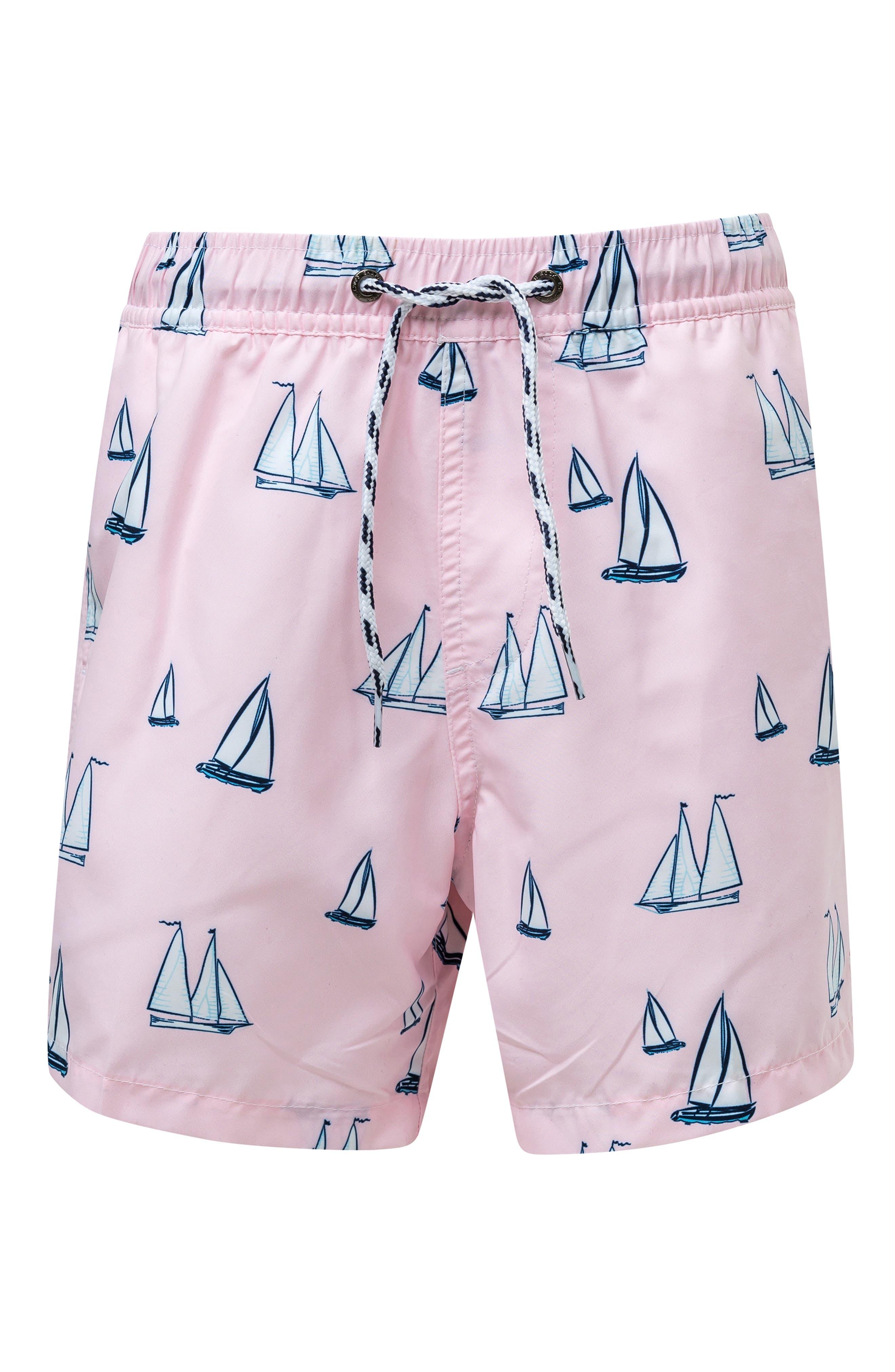 Sail Away Swim Trunks, Main, color, PINK