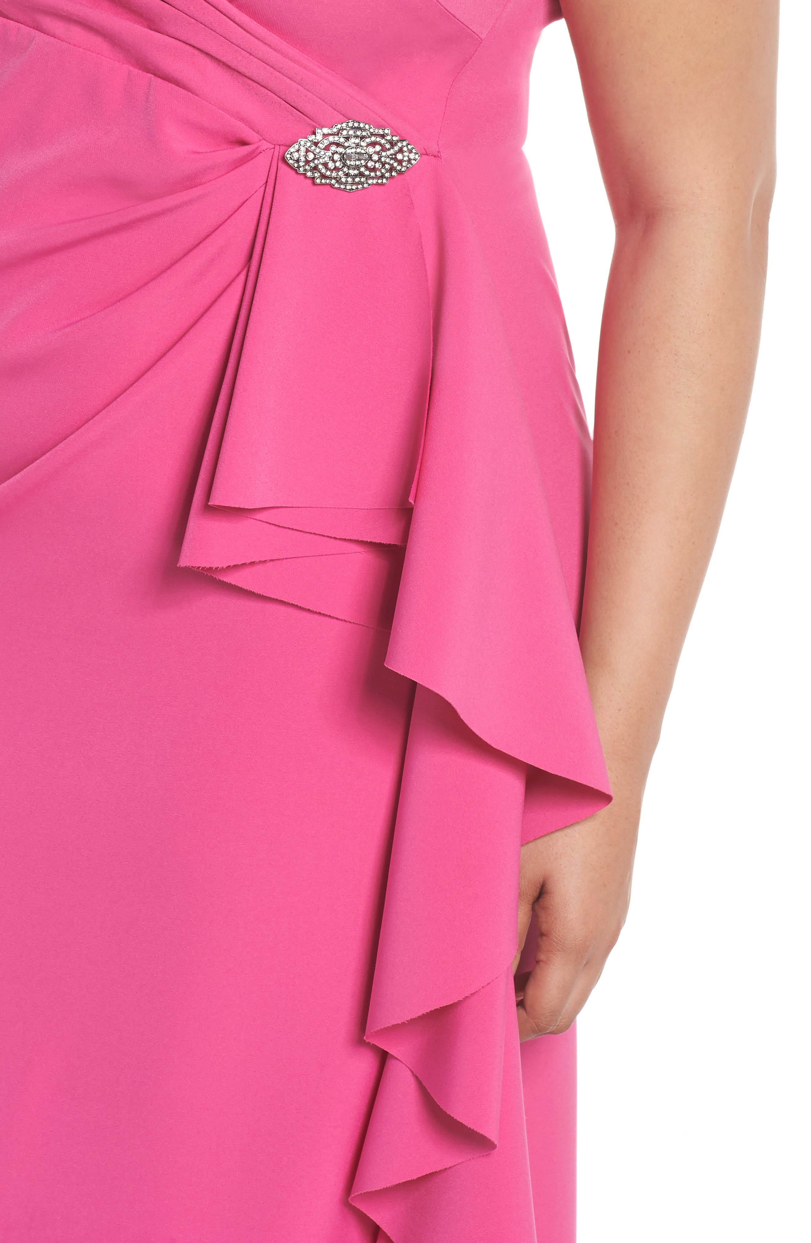 Off the Shoulder Embellished Ruffle Gown,                             Alternate thumbnail 4, color,                             650