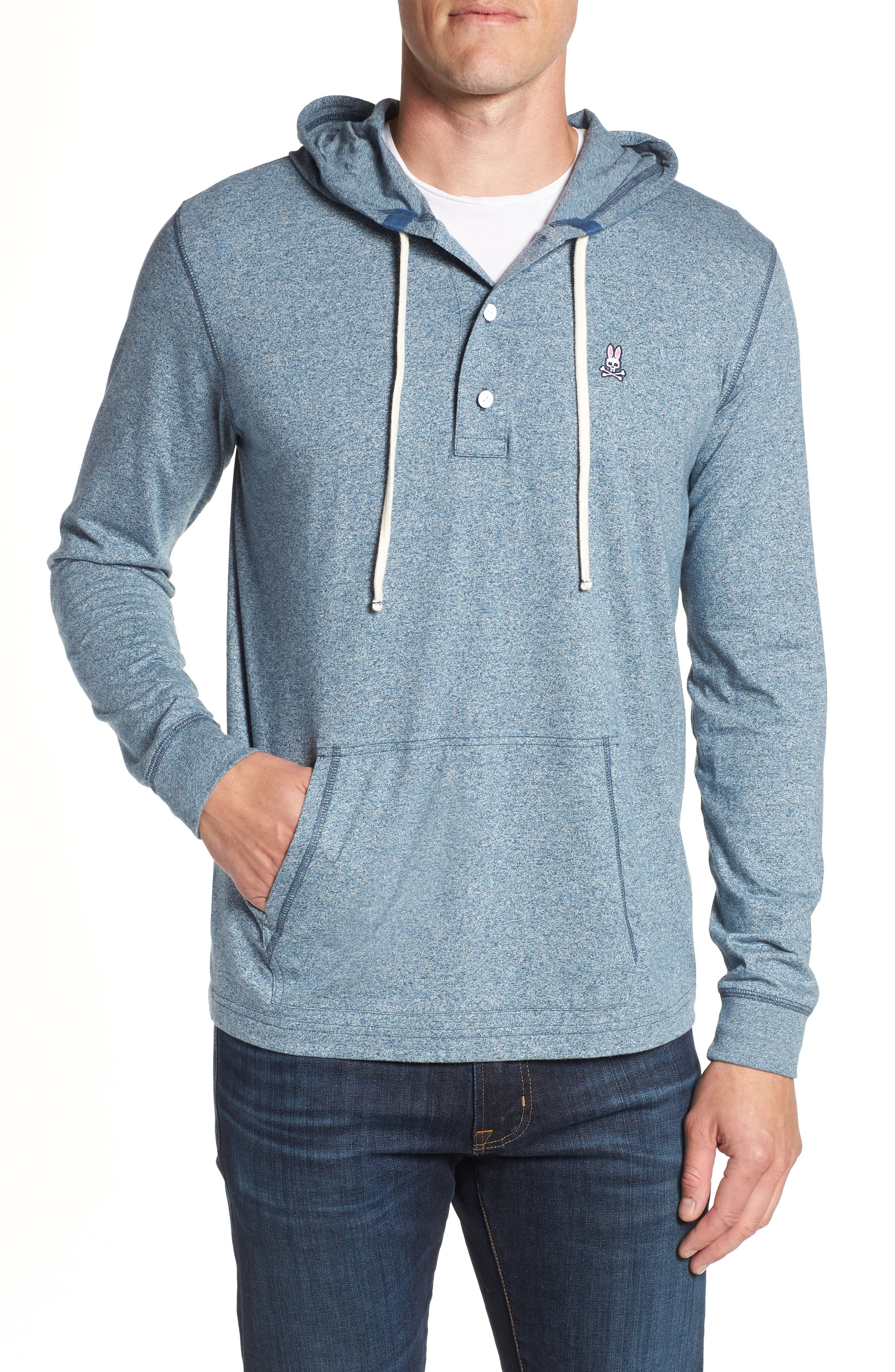 Embroidered Henley Hoodie,                             Main thumbnail 1, color,                             400