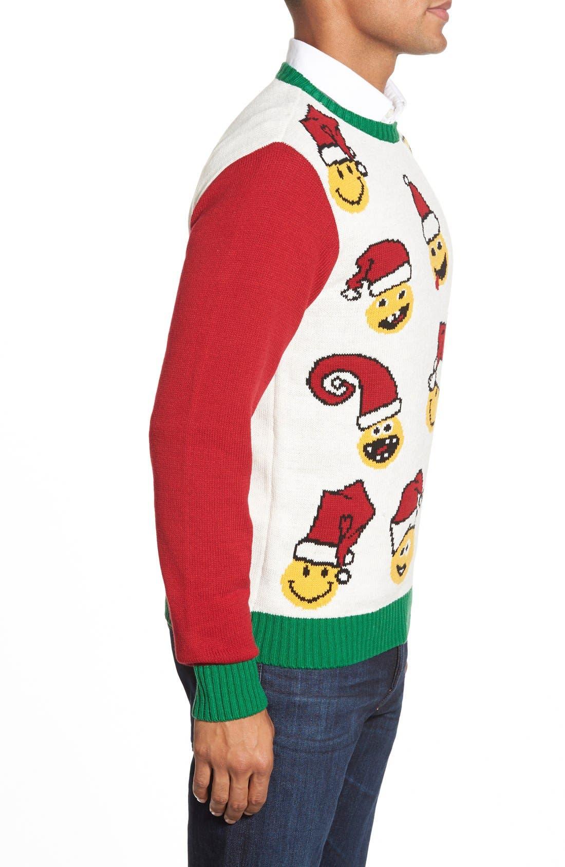 'Emoji Faces' Holiday Crewneck Sweater,                             Alternate thumbnail 5, color,