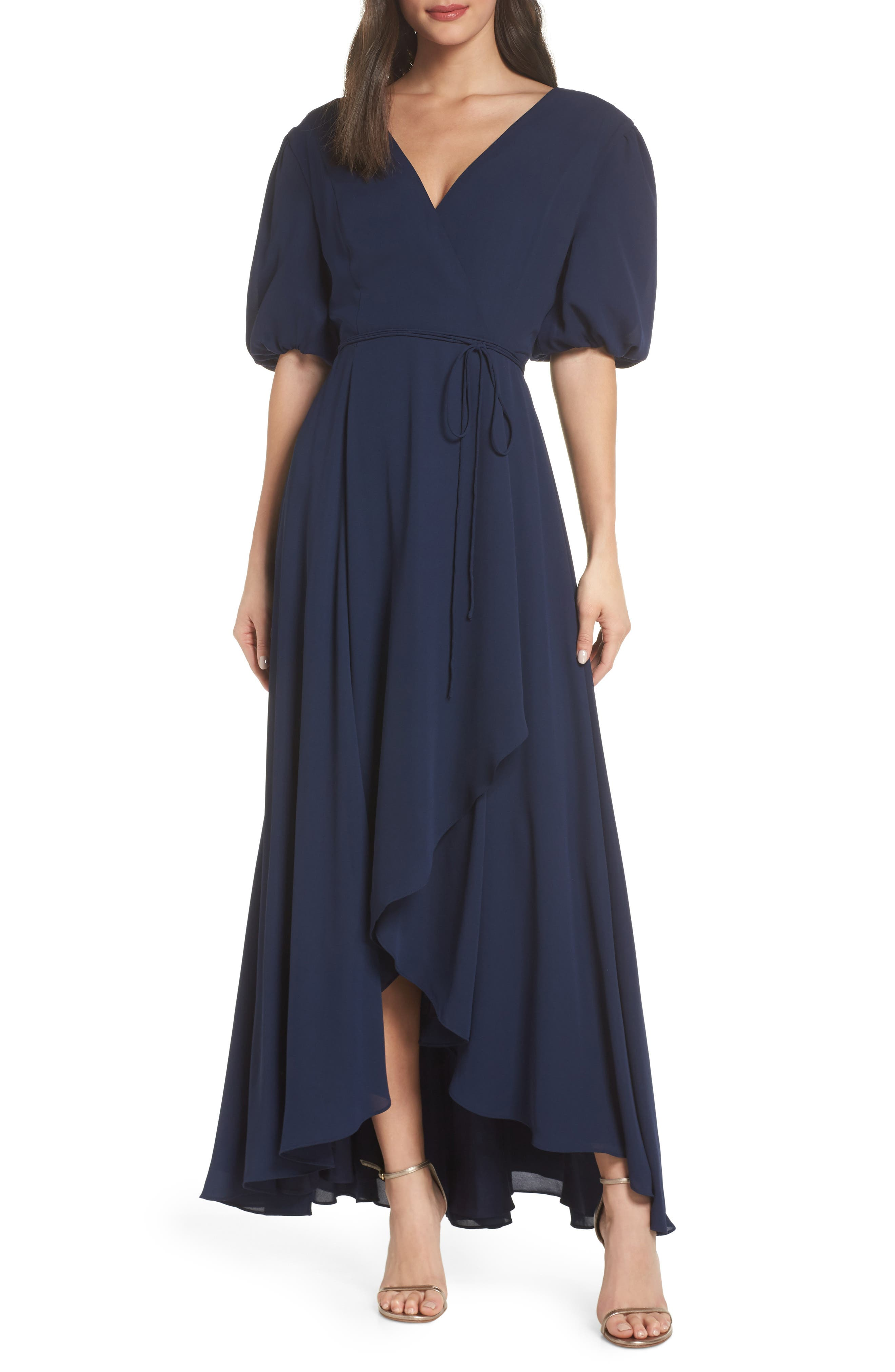 FAME AND PARTNERS V-Neck Georgette Wrap Gown in Navy