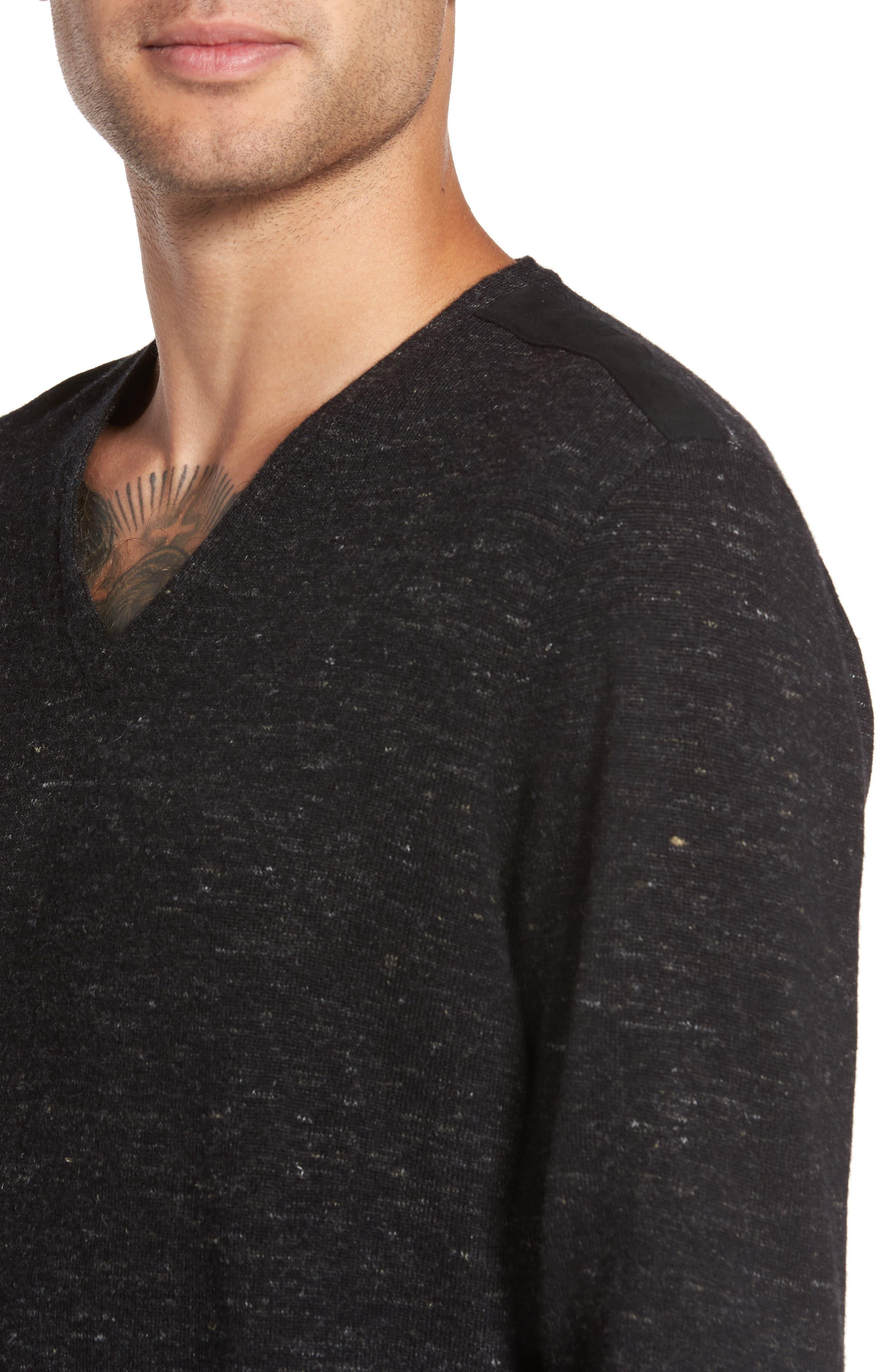 Long Sleeve V-Neck Sweater,                             Alternate thumbnail 4, color,                             001