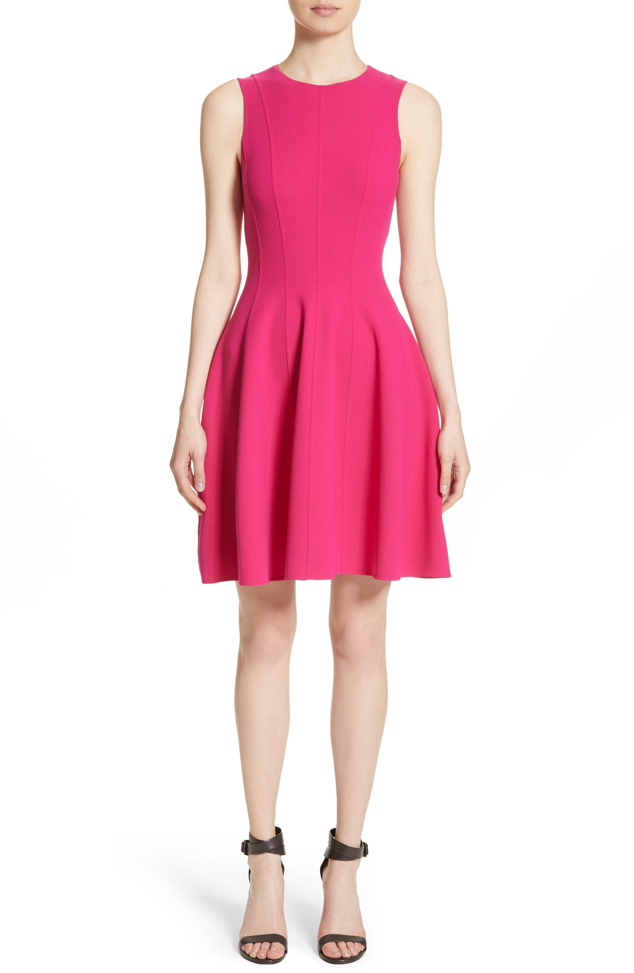 Stretch Wool Bell Dress,                             Main thumbnail 1, color,                             657