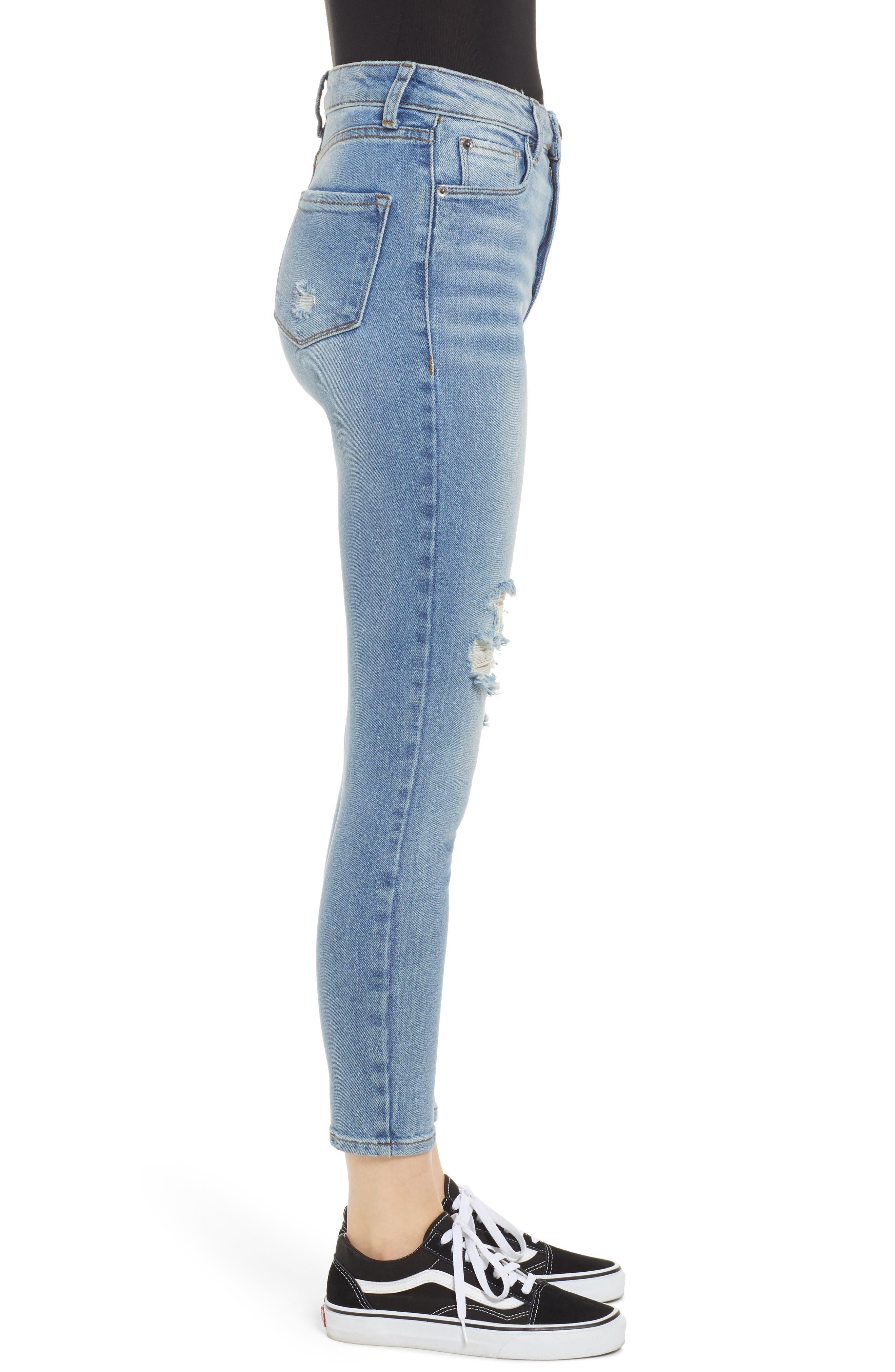 Brie High Waist Ripped Skinny Jeans,                             Alternate thumbnail 3, color,                             BRADFORD LIGHT WASH