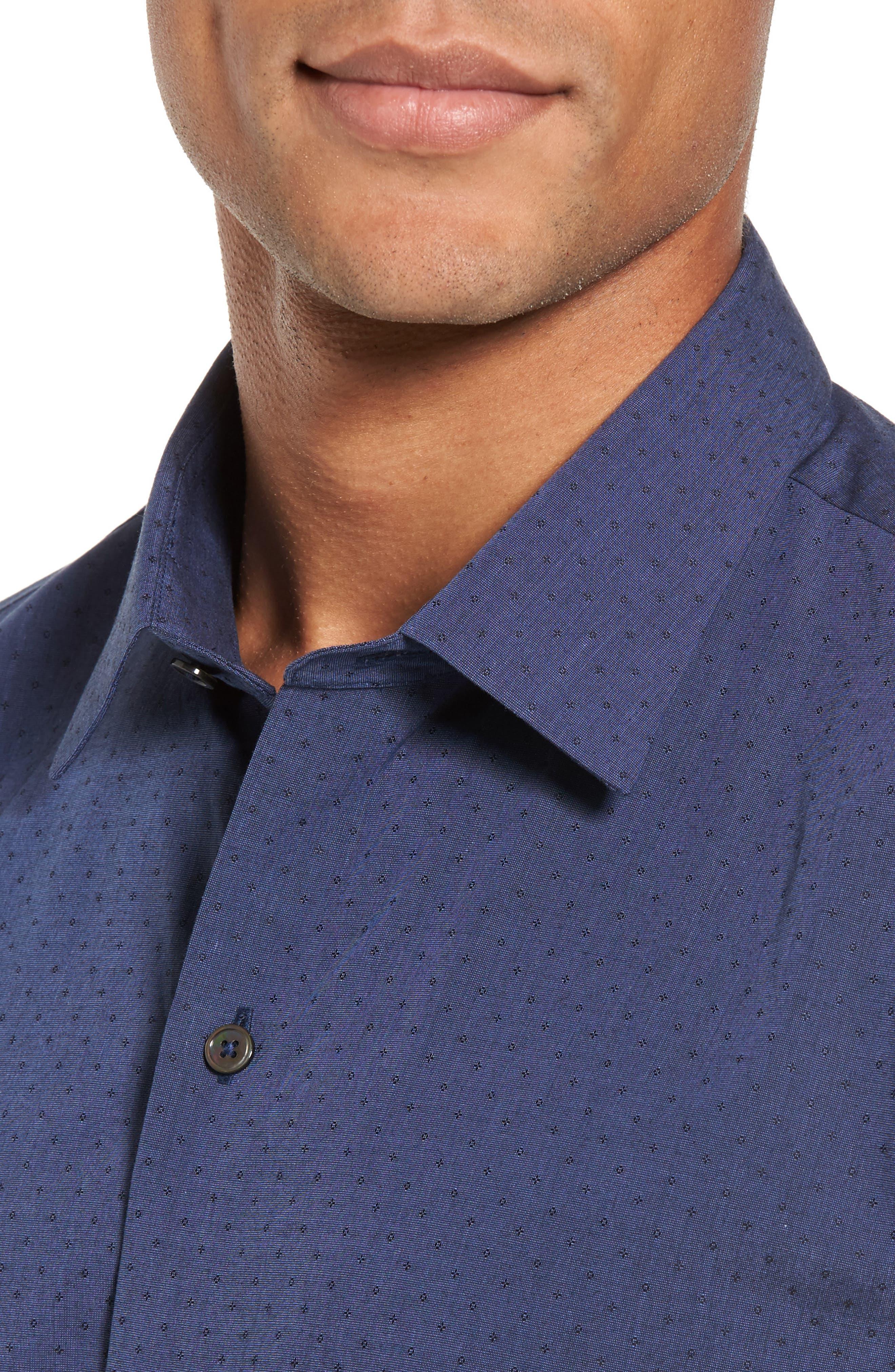 Colly Slim Fit Print Sport Shirt,                             Alternate thumbnail 4, color,