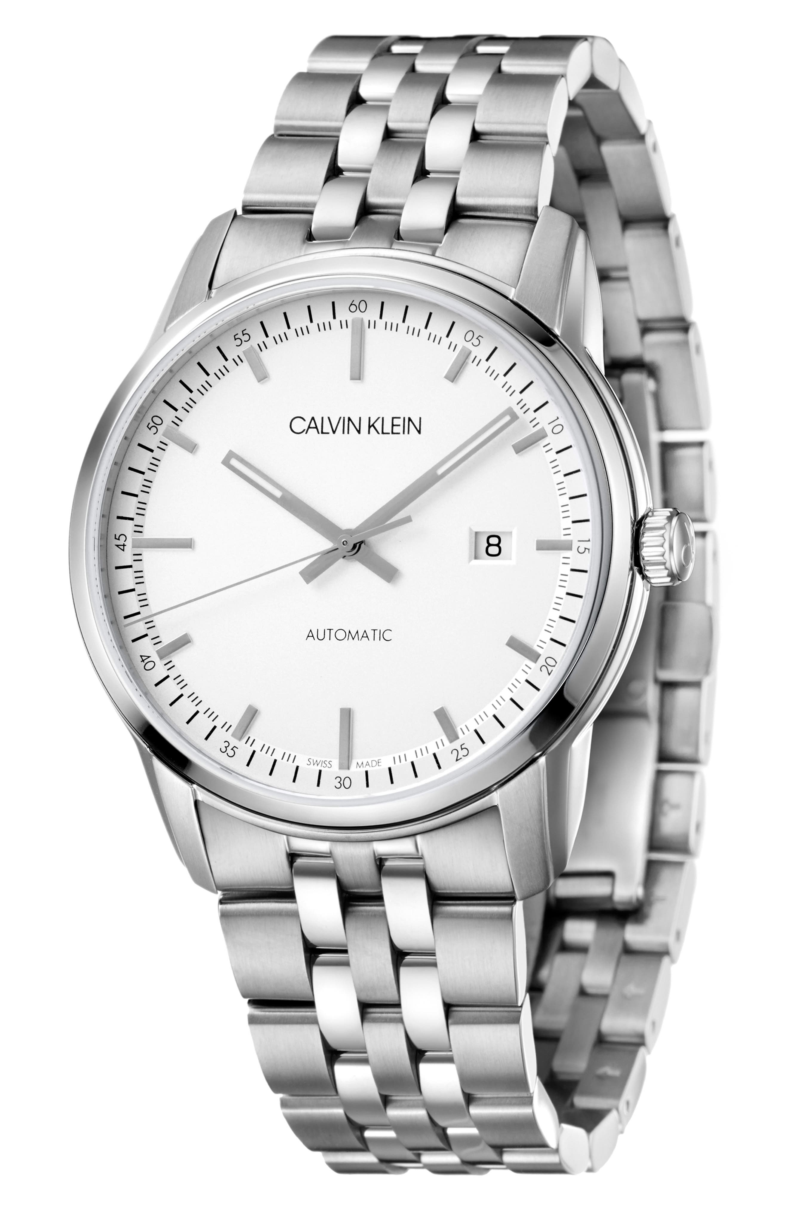 Infinite Too Automatic Bracelet Watch, 42mm, Main, color, SILVER