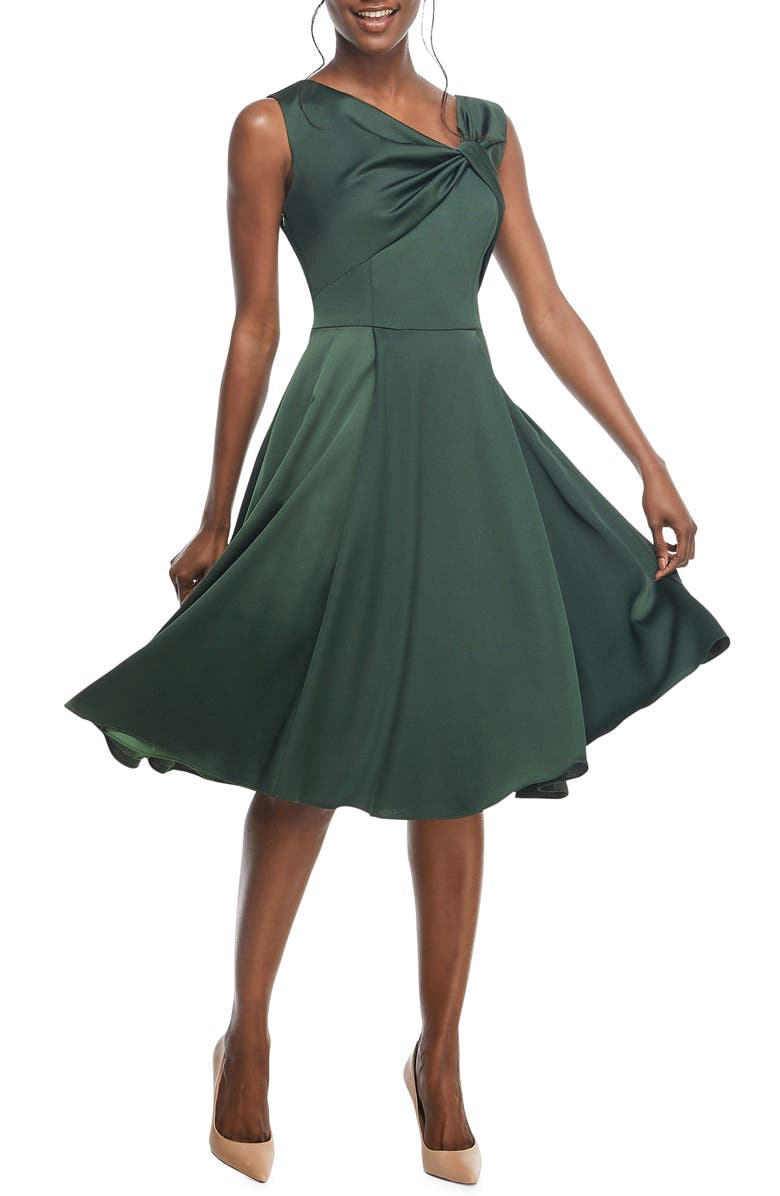 Noelle Twist Neck Satin Dress,                         Main,                         color, EVERGREEN