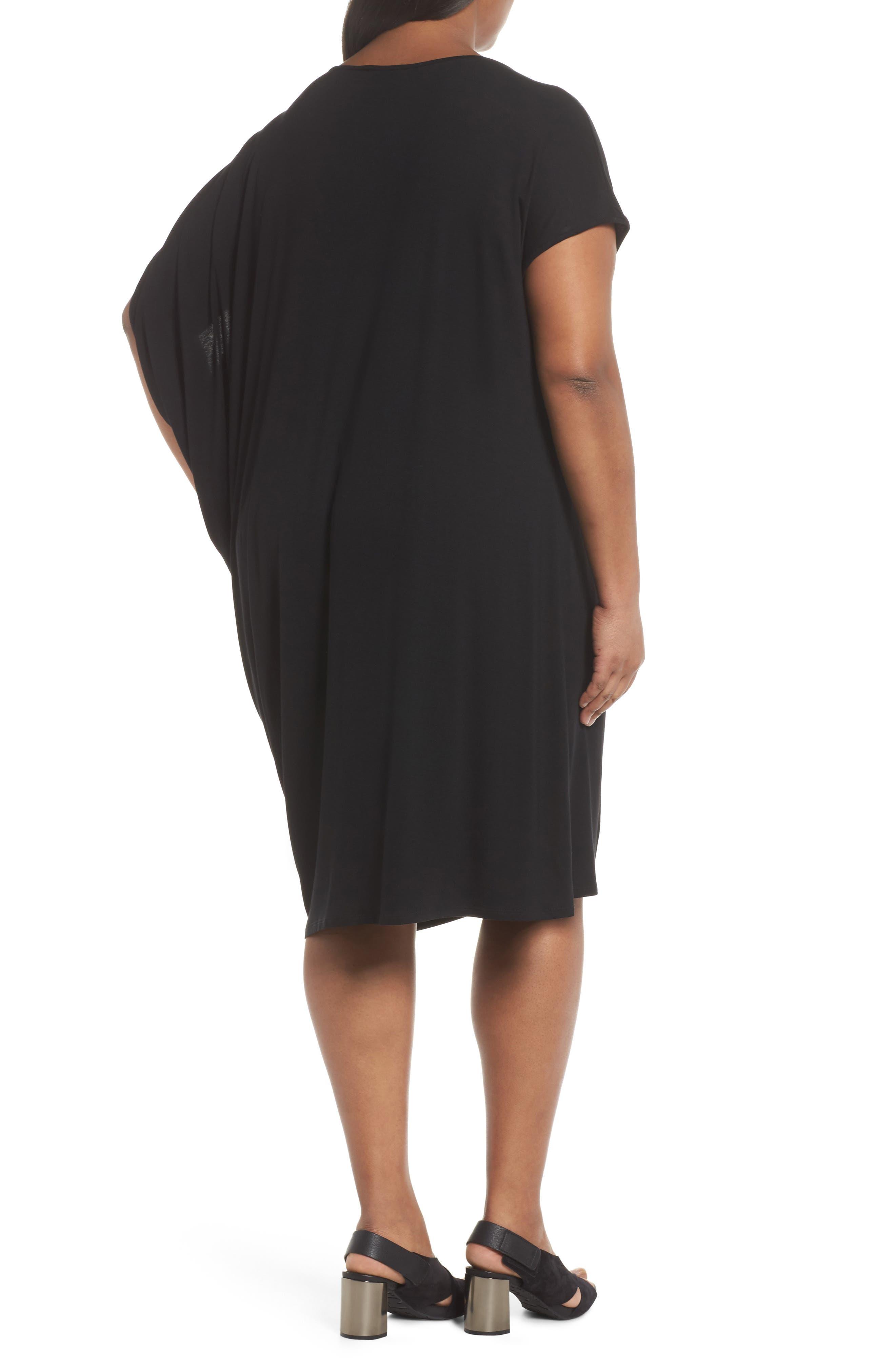 Asymmetrical Drape Jersey Dress,                             Alternate thumbnail 2, color,                             001