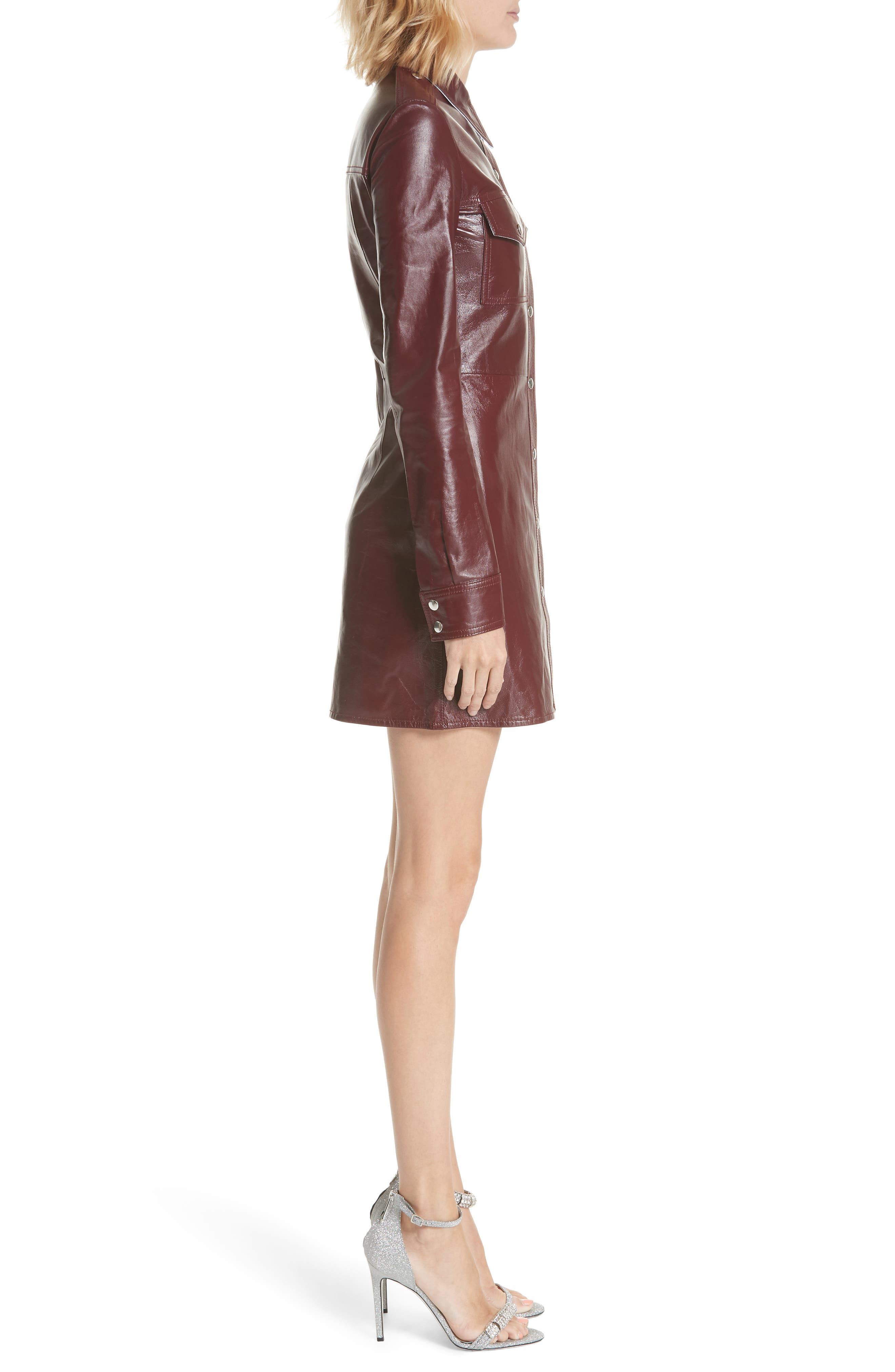 Leather Western Shirtdress,                             Alternate thumbnail 3, color,                             MULBERRY