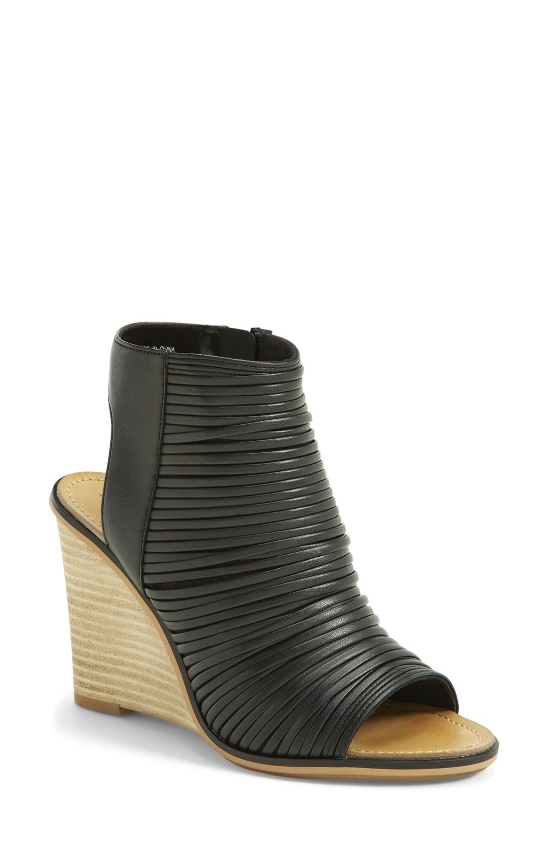 'Turner' Open Toe Wedge Bootie,                             Main thumbnail 1, color,                             003