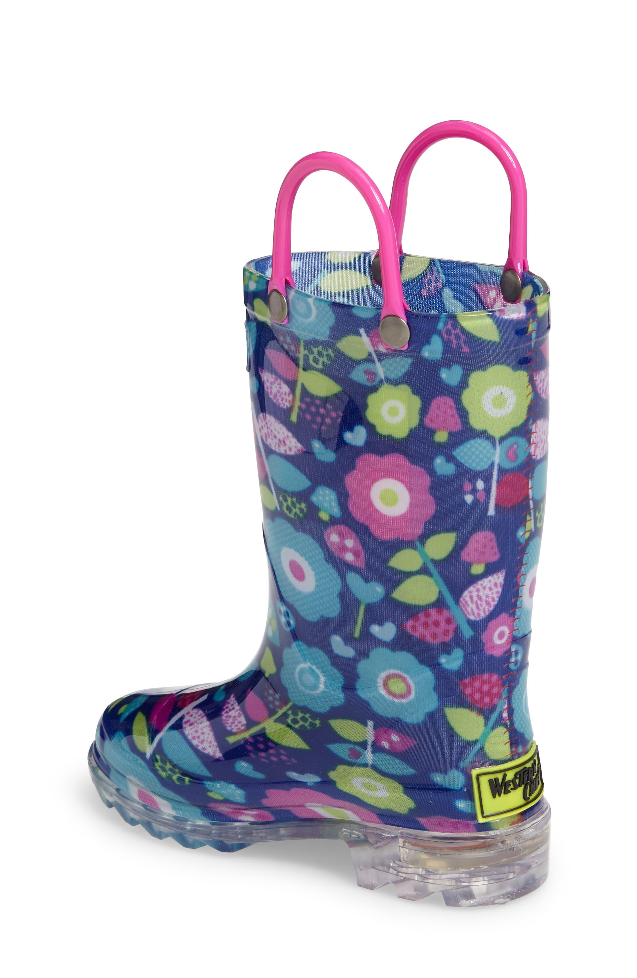 Pop Flower Light-Up Rain Boot,                             Alternate thumbnail 2, color,