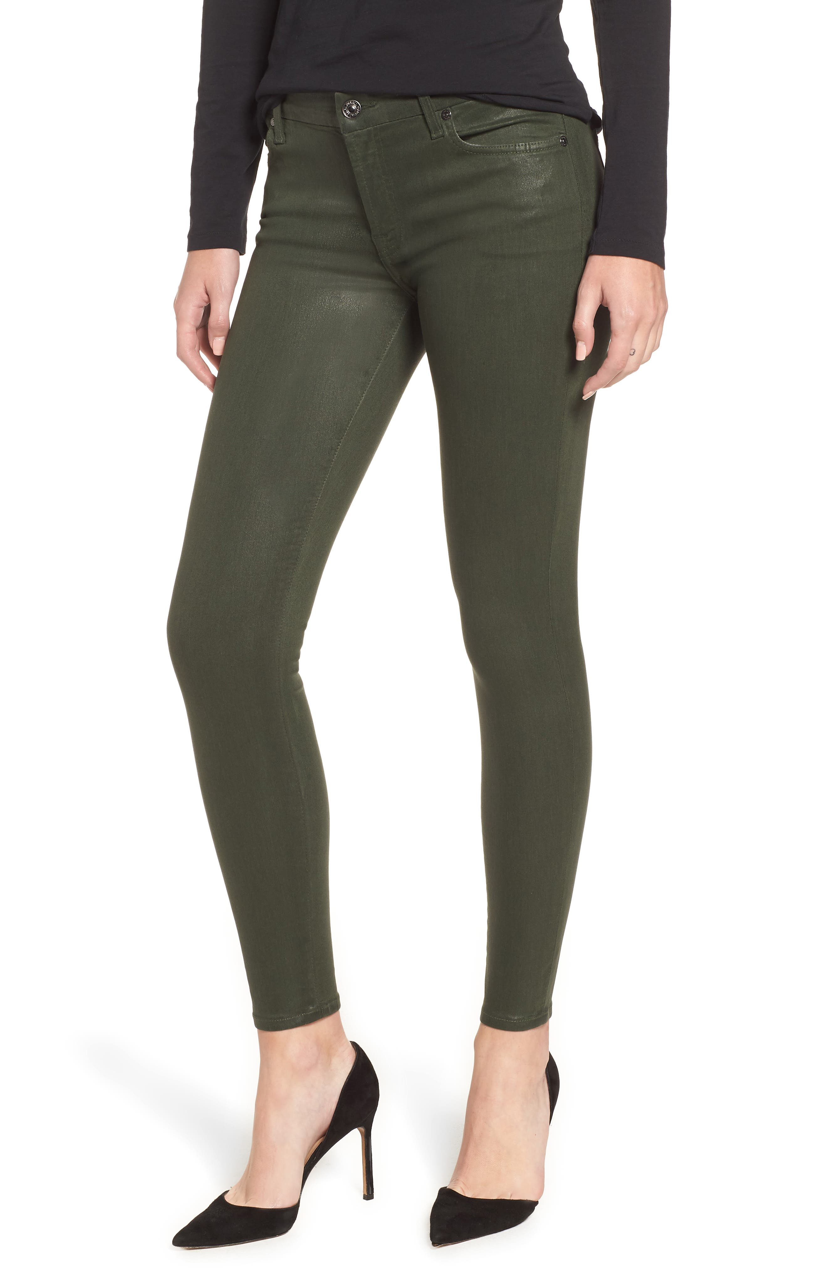 Coated Ankle Skinny Jeans, Main, color, COATED MOSS GREEN