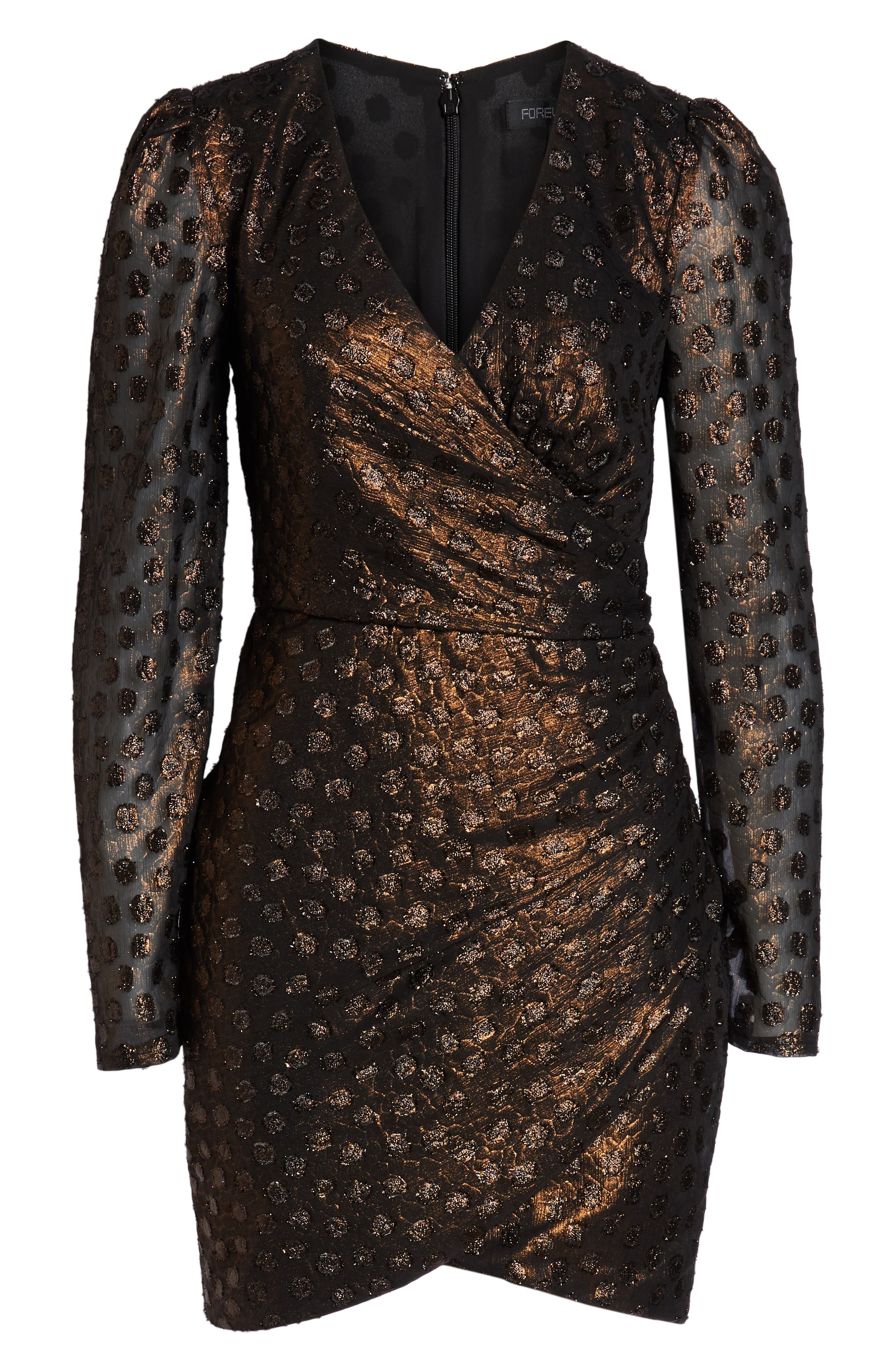 Metallic Fil Coupé Faux Wrap Dress,                             Alternate thumbnail 7, color,                             COPPER