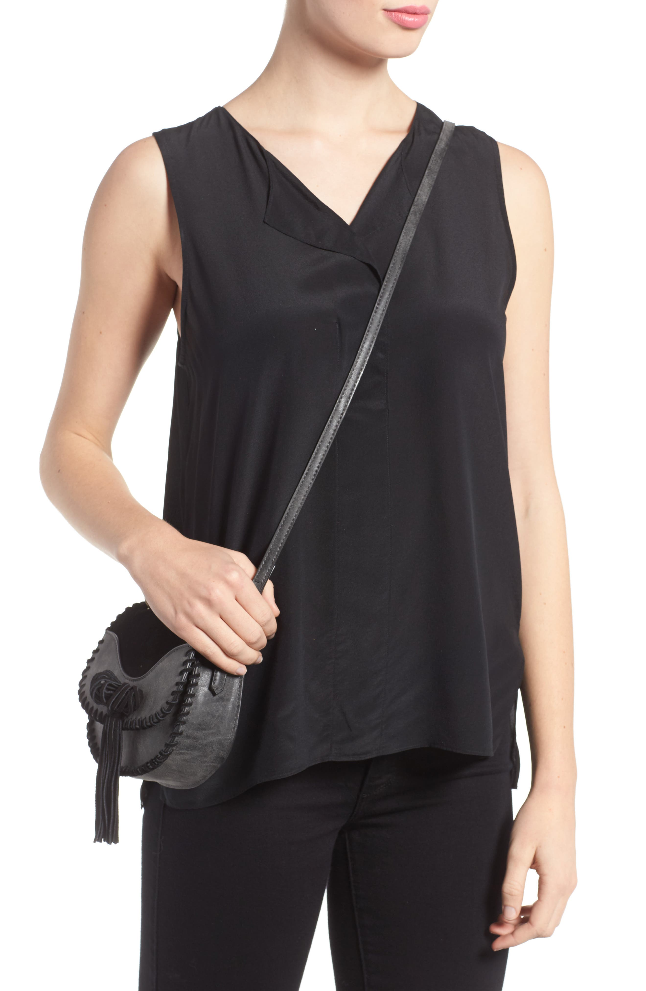 Mini Madrid Faux Leather Top Handle Saddle Bag,                             Alternate thumbnail 2, color,                             001