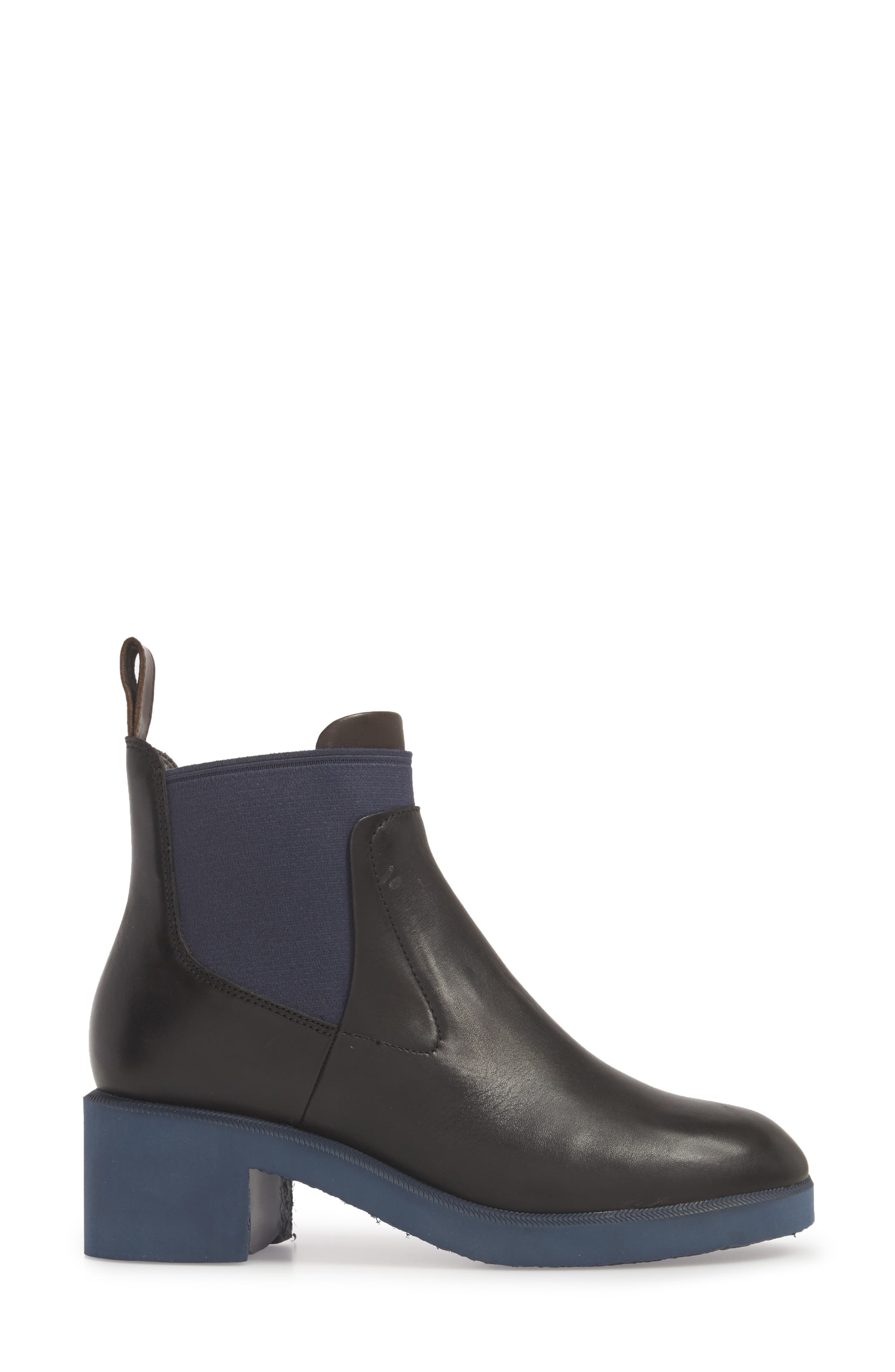 Whitnee Bootie,                             Alternate thumbnail 3, color,                             BLACK LEATHER/ NAVY