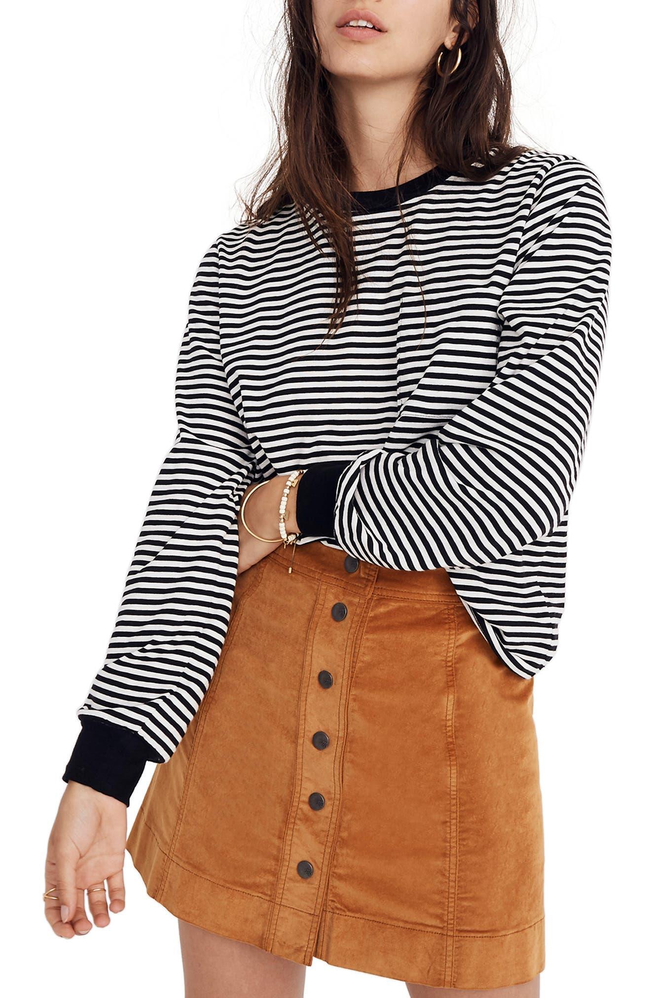 Stripe Long Sleeve Tee,                         Main,                         color, TRUE BLACK