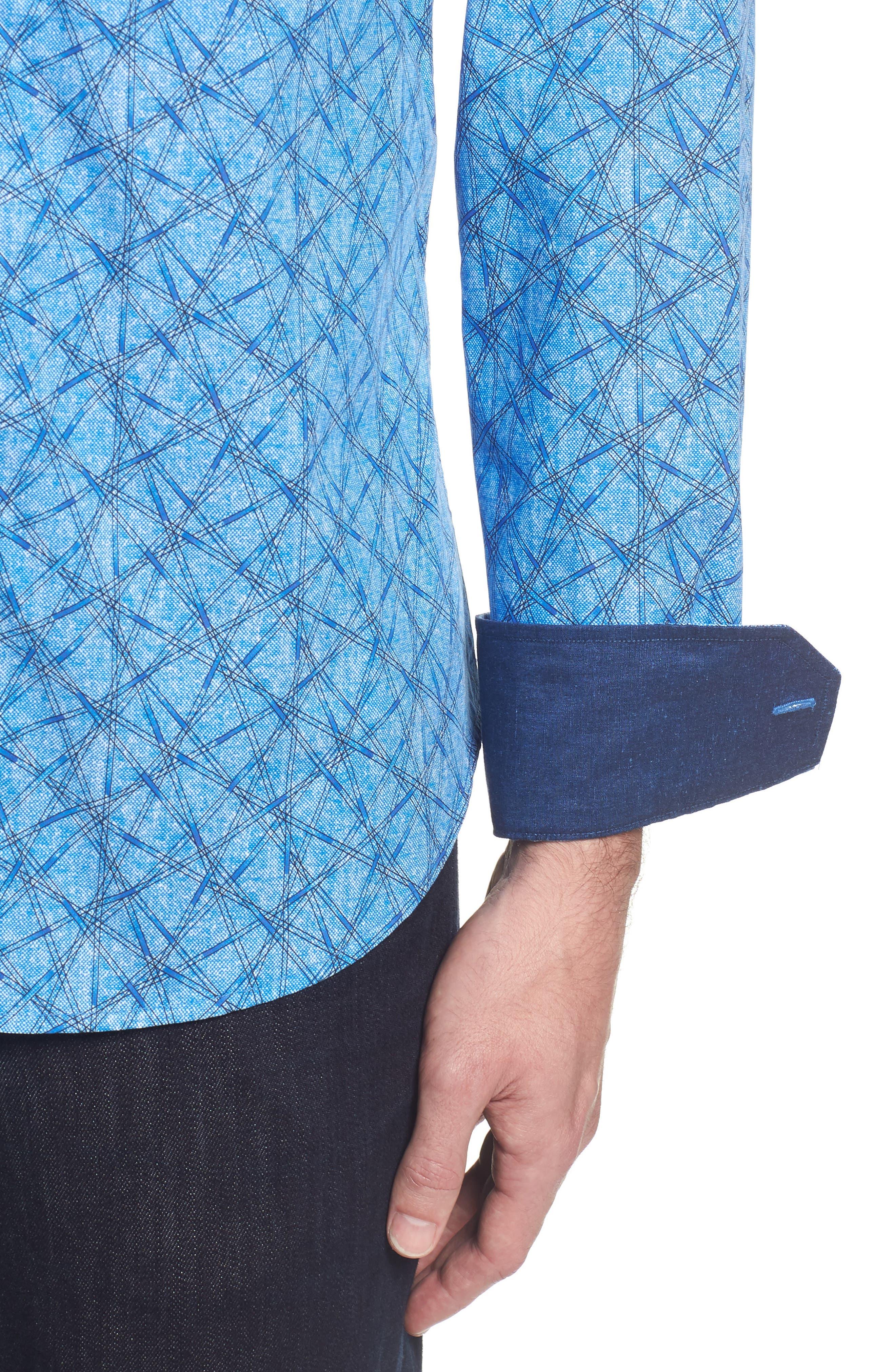Slim Fit Abstract Print Sport Shirt,                             Alternate thumbnail 4, color,                             422