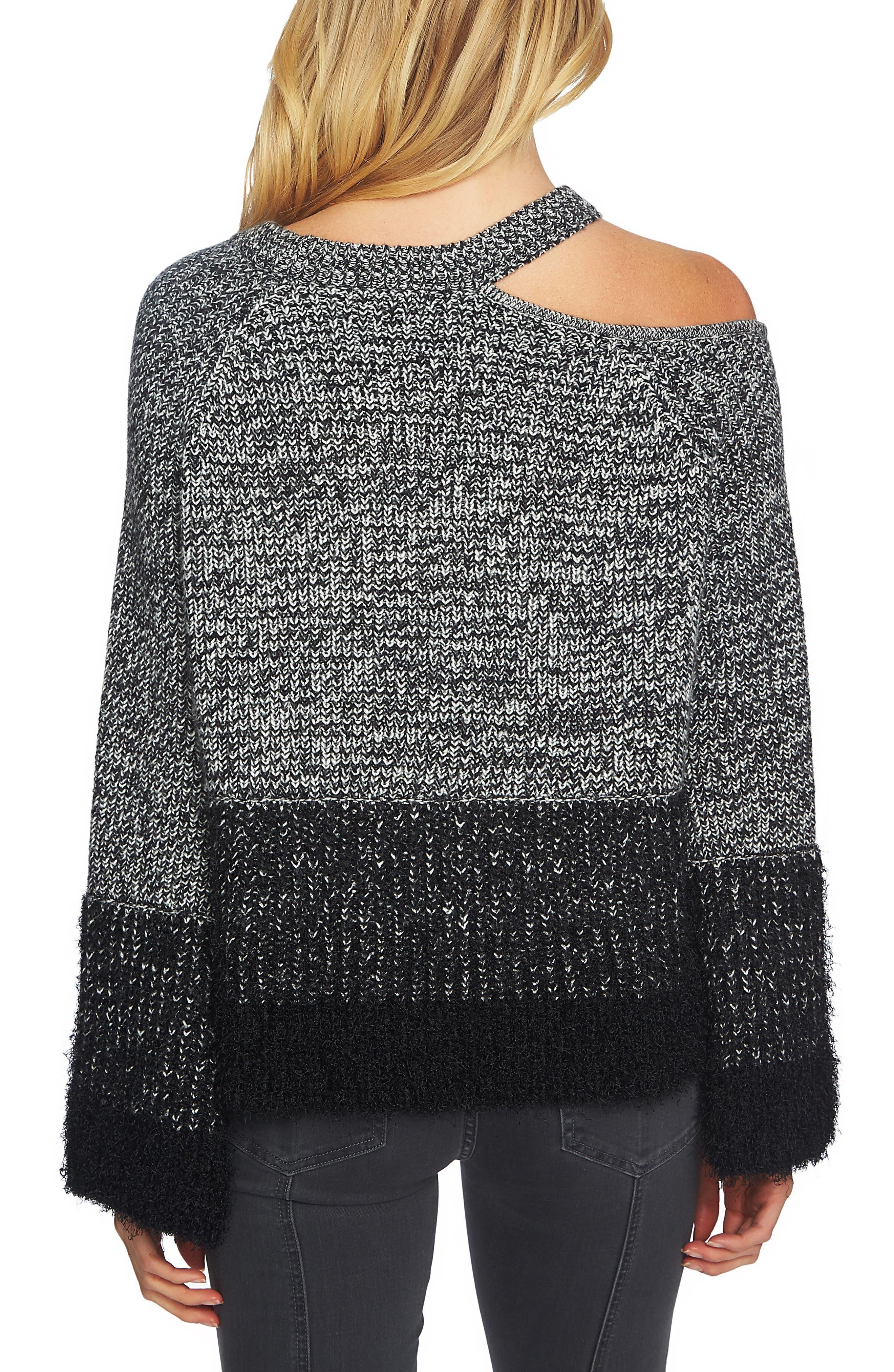 Eyelash Fringe Cutout Sweater,                             Alternate thumbnail 2, color,                             006