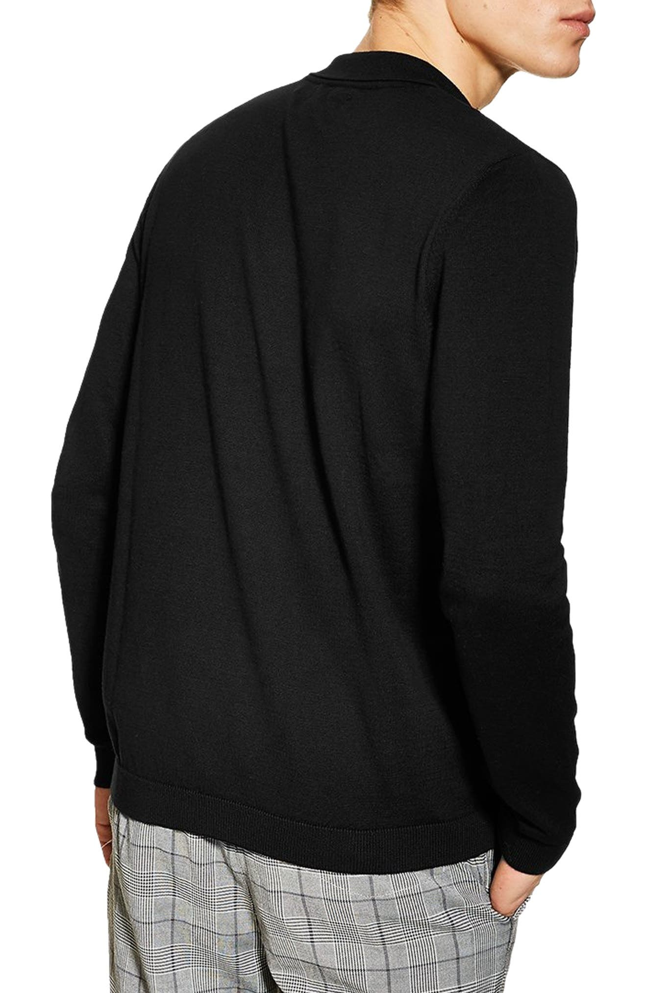 Zip Long Sleeve Polo,                             Alternate thumbnail 2, color,                             BLACK