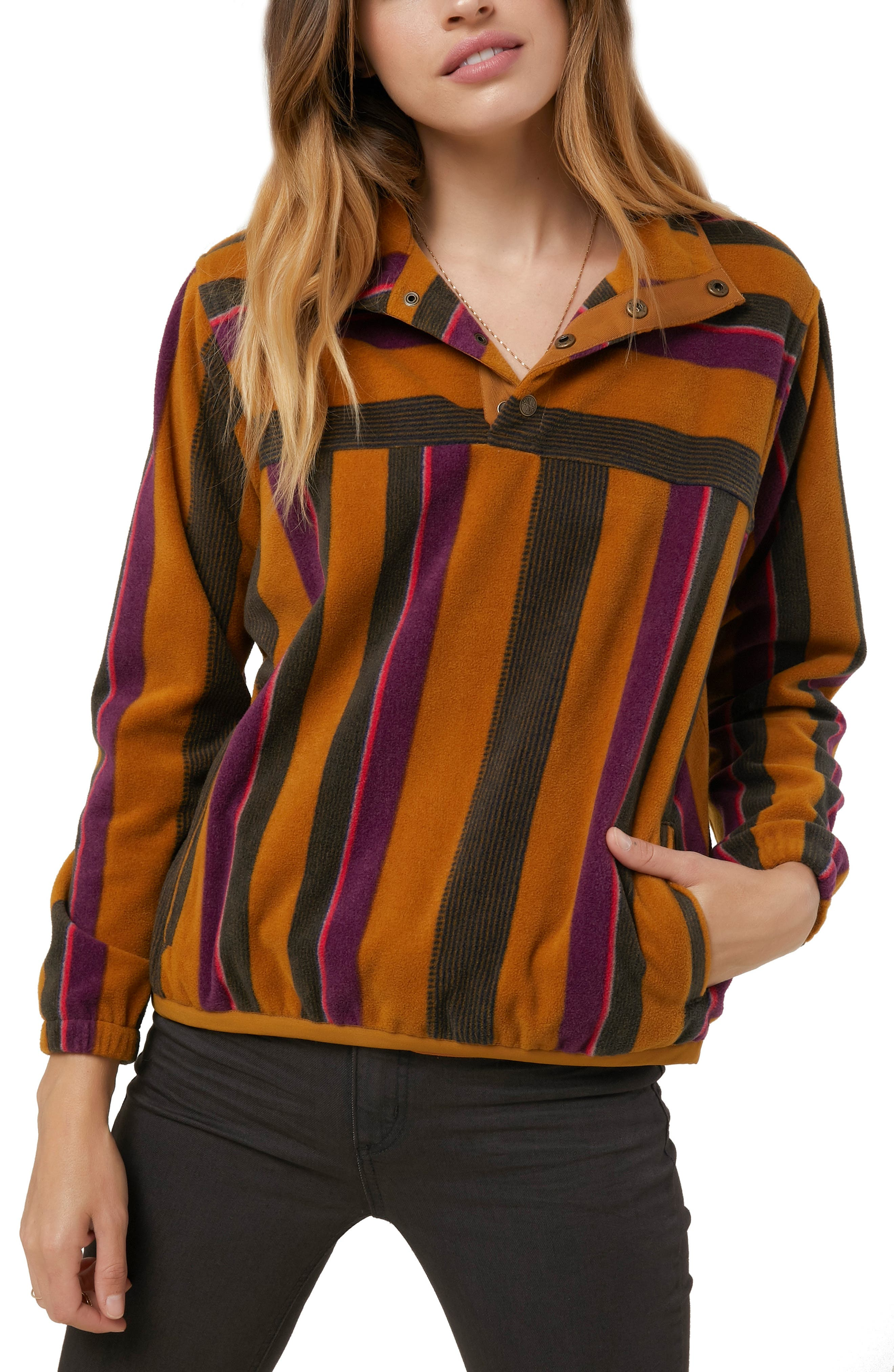 Crescent Line Fleece Pullover,                             Main thumbnail 1, color,                             200