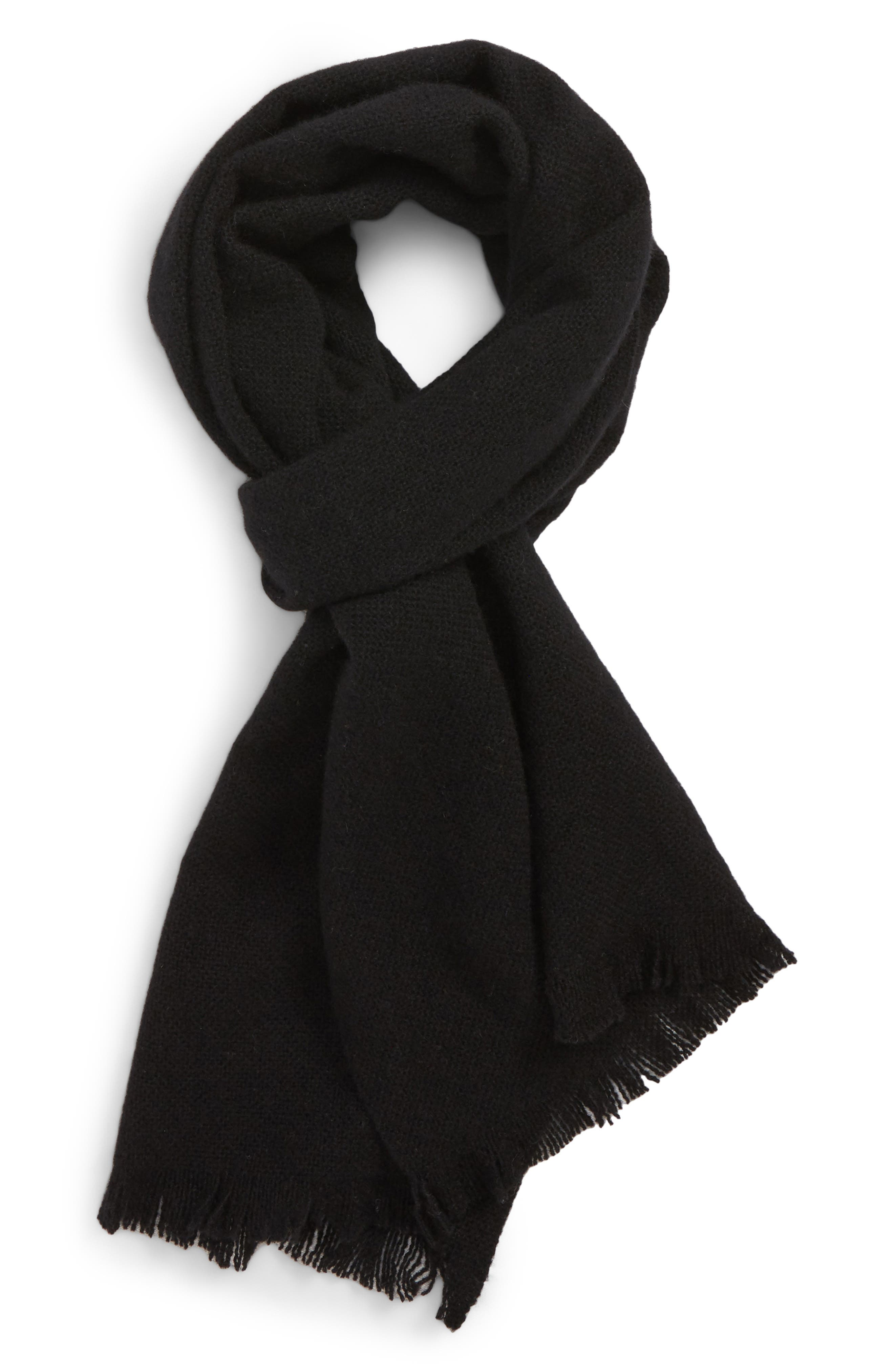 Solid Cashmere Scarf,                         Main,                         color, BLACK