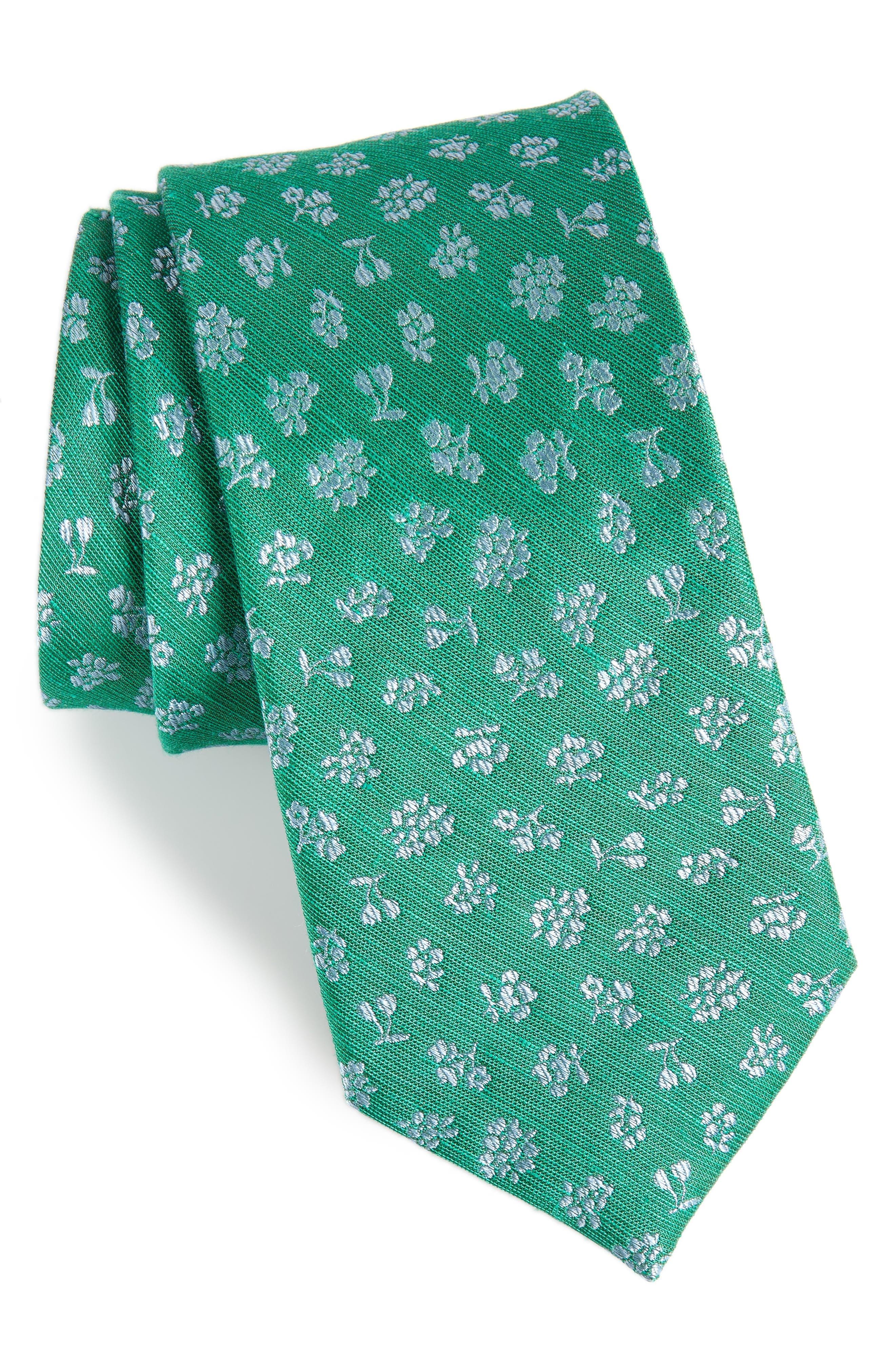Fruta Floral Silk & Linen Tie,                             Main thumbnail 1, color,                             GREEN