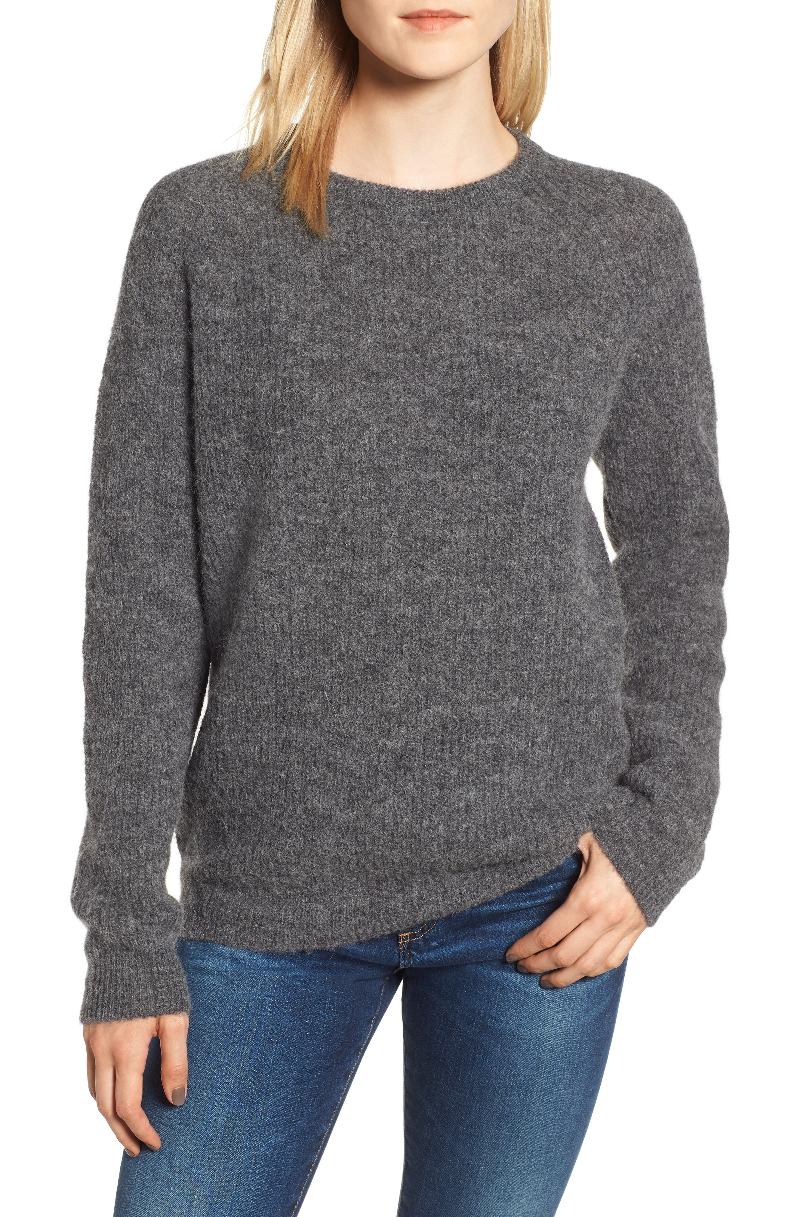 Olivia Crewneck Sweater,                             Main thumbnail 1, color,                             DARK GREY MARL