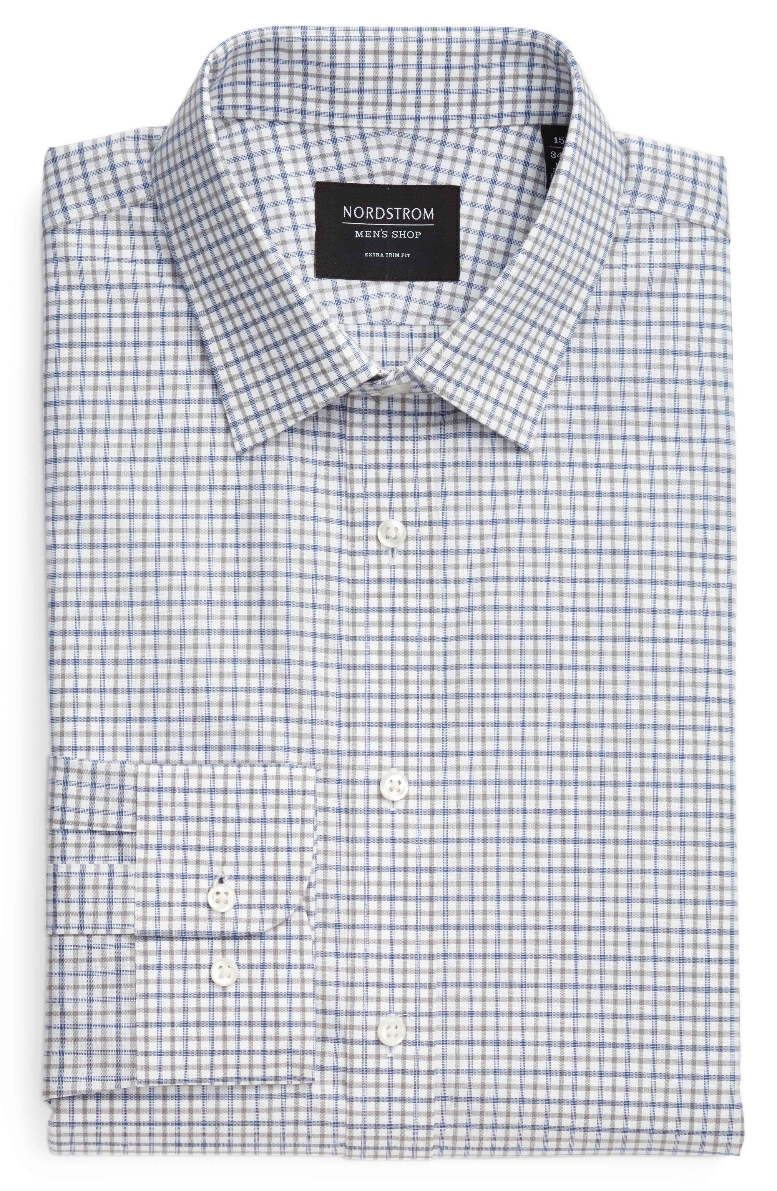 Extra Trim Fit Check Dress Shirt,                             Alternate thumbnail 18, color,