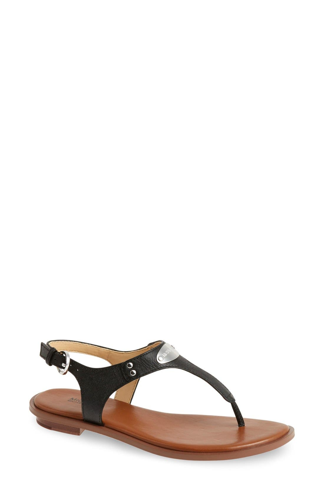 'Plate' Thong Sandal,                             Main thumbnail 1, color,                             BLACK