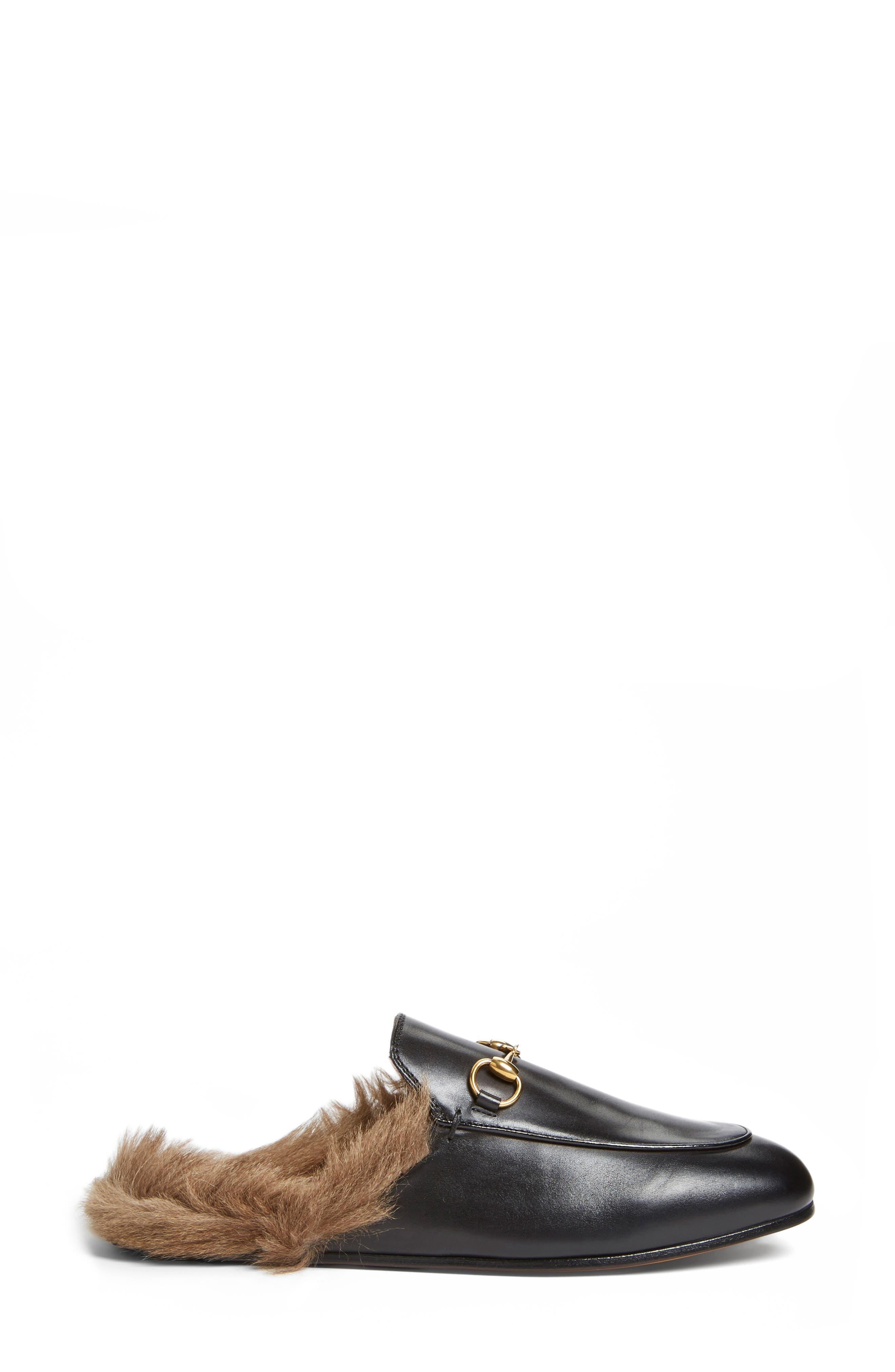 'Princetown' Genuine Shearling Loafer Mule,                             Alternate thumbnail 3, color,                             BLACK