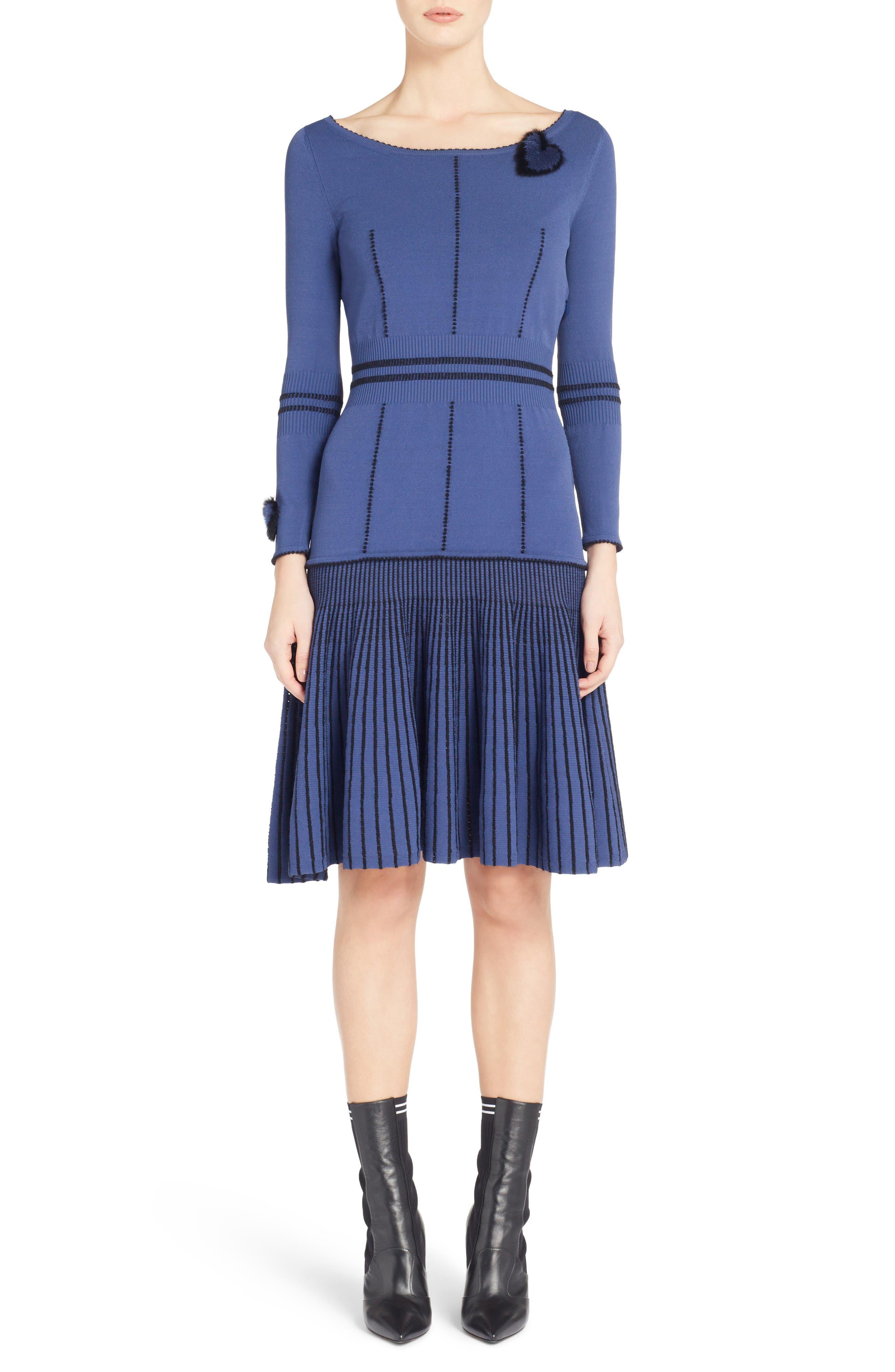 Knit Drop Waist Dress with Genuine Mink Fur Trim, Main, color, BLUE