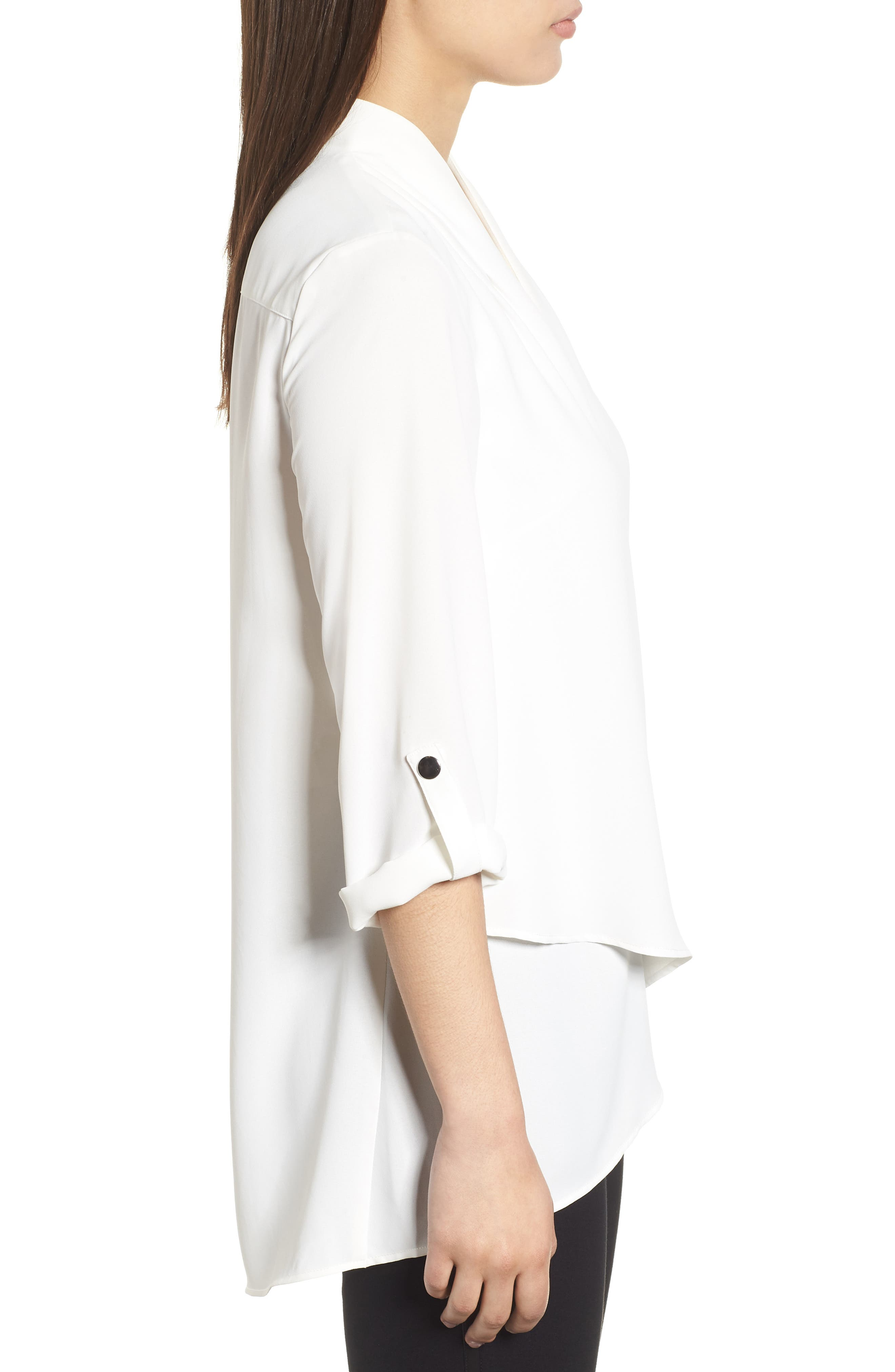 Crossover Front Blouse,                             Alternate thumbnail 3, color,                             WHITE