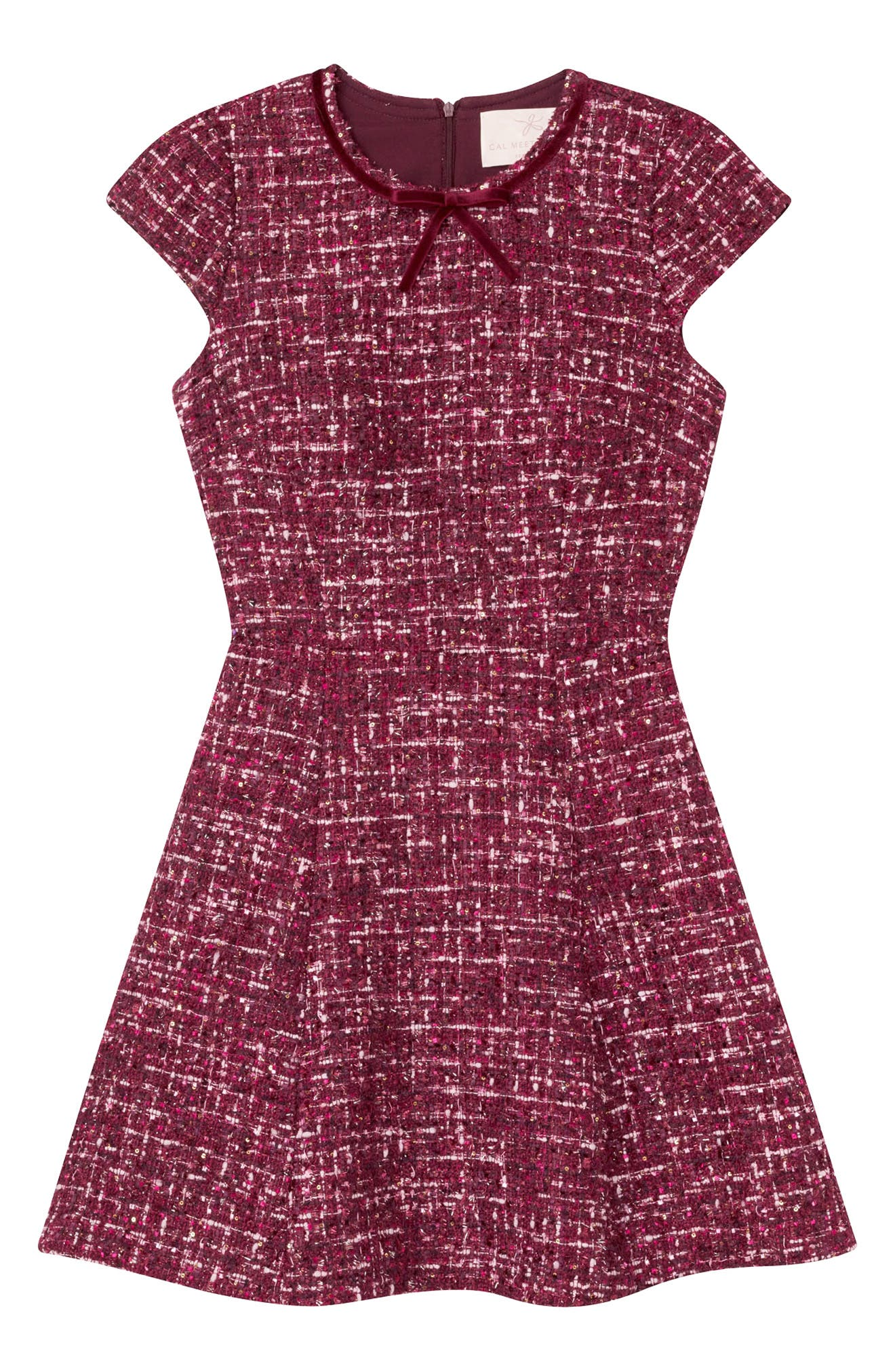 Nell Bouclé Dreams Tweed Fit & Flare Dress,                             Alternate thumbnail 3, color,                             WINE/ PINK