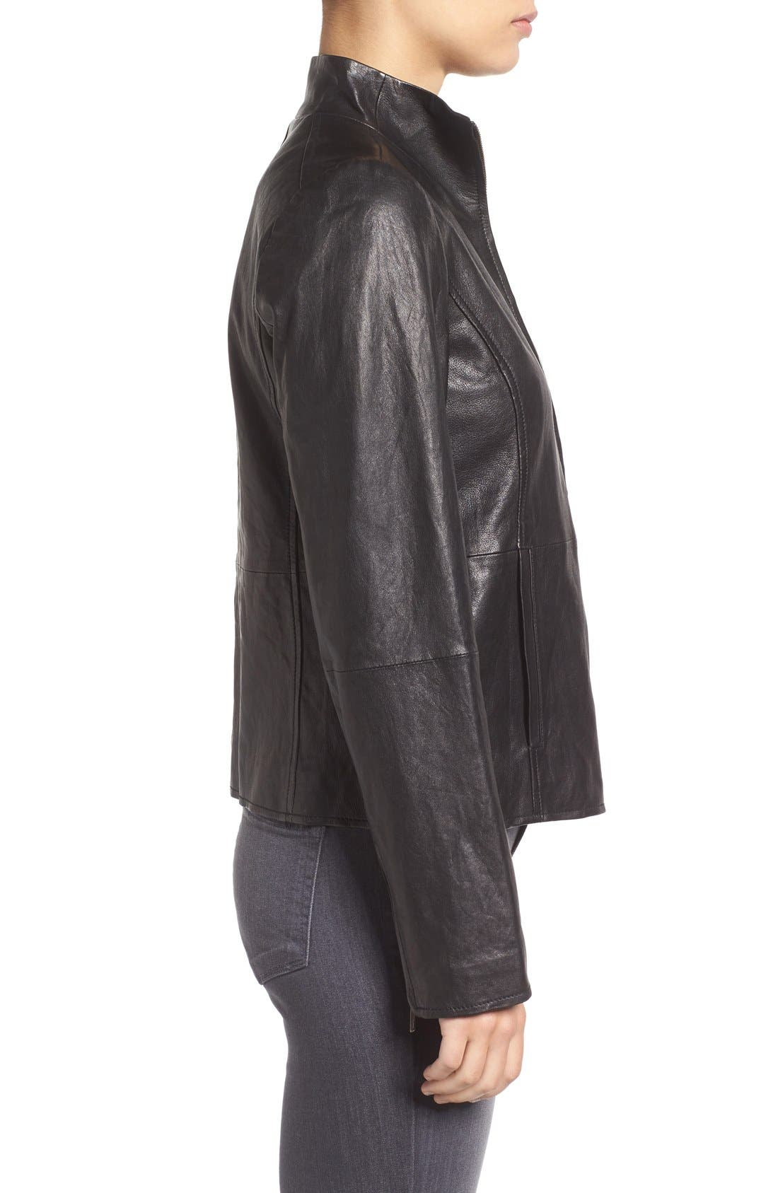 Rumpled Luxe Leather Stand Collar Jacket,                             Alternate thumbnail 3, color,                             001