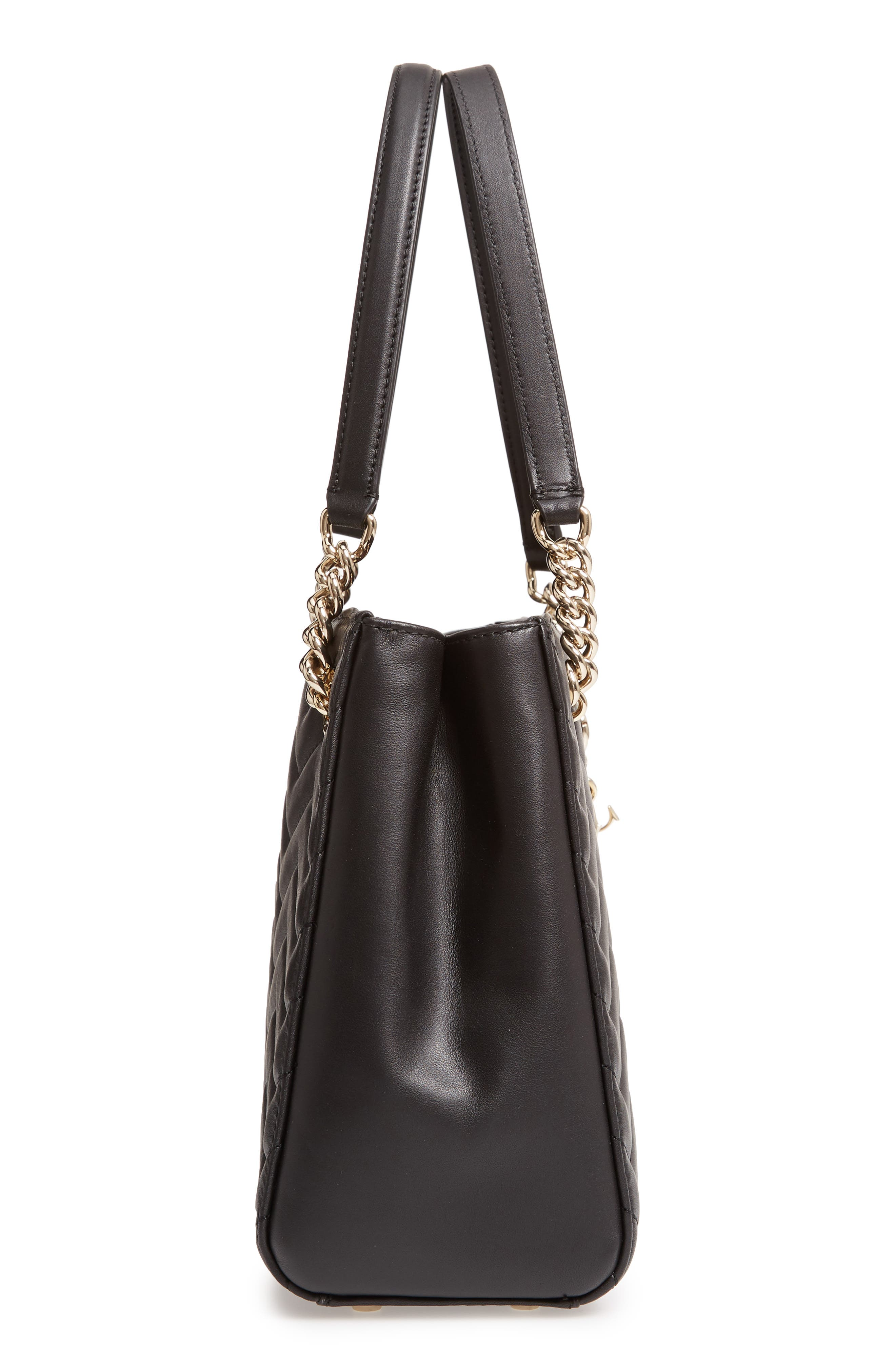 reese park - small courtnee leather tote,                             Alternate thumbnail 5, color,                             001
