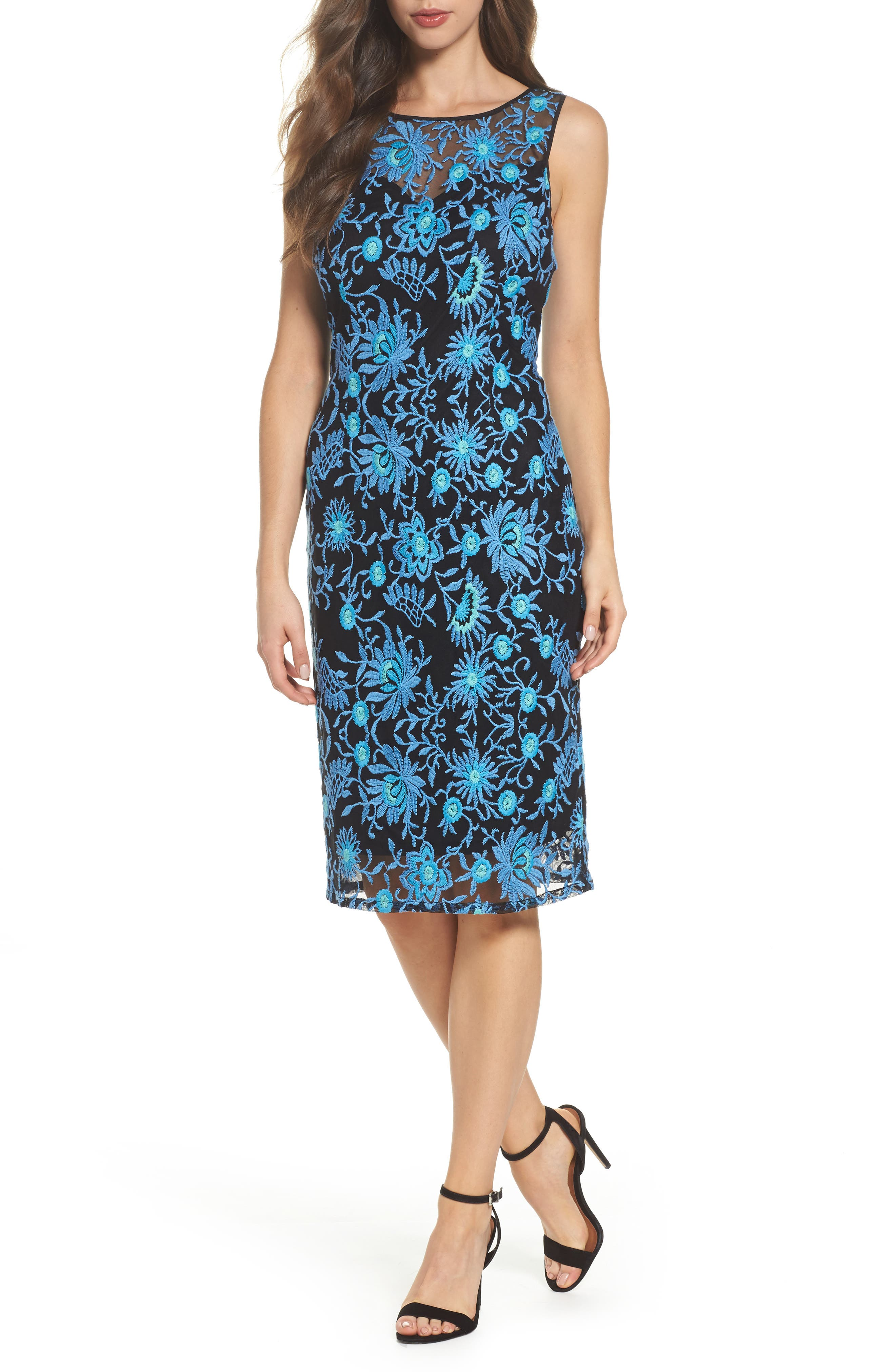 Embroidered Sheath Dress,                             Main thumbnail 1, color,                             480