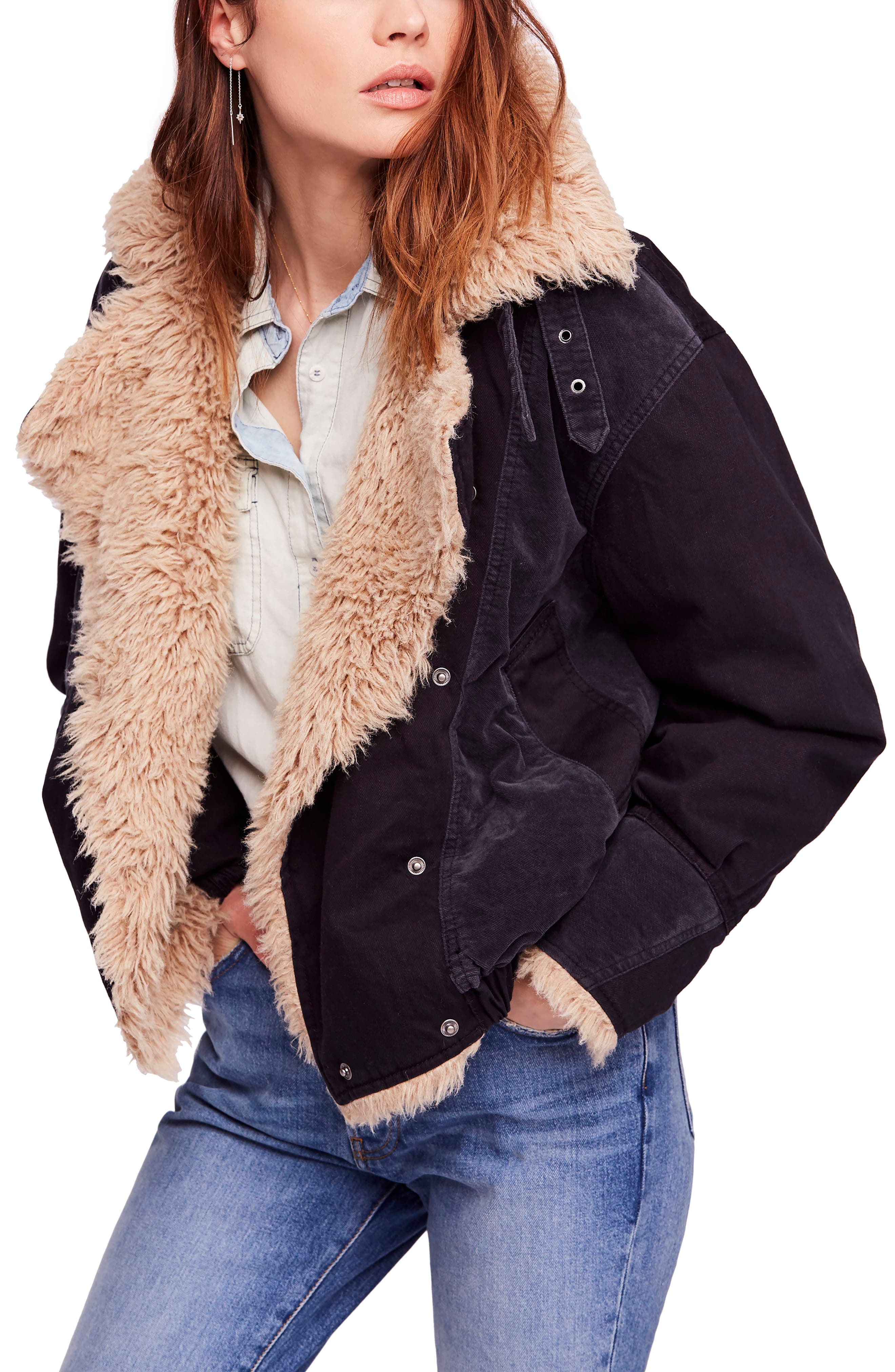 Faux Shearling Denim Bomber Jacket,                         Main,                         color, 001