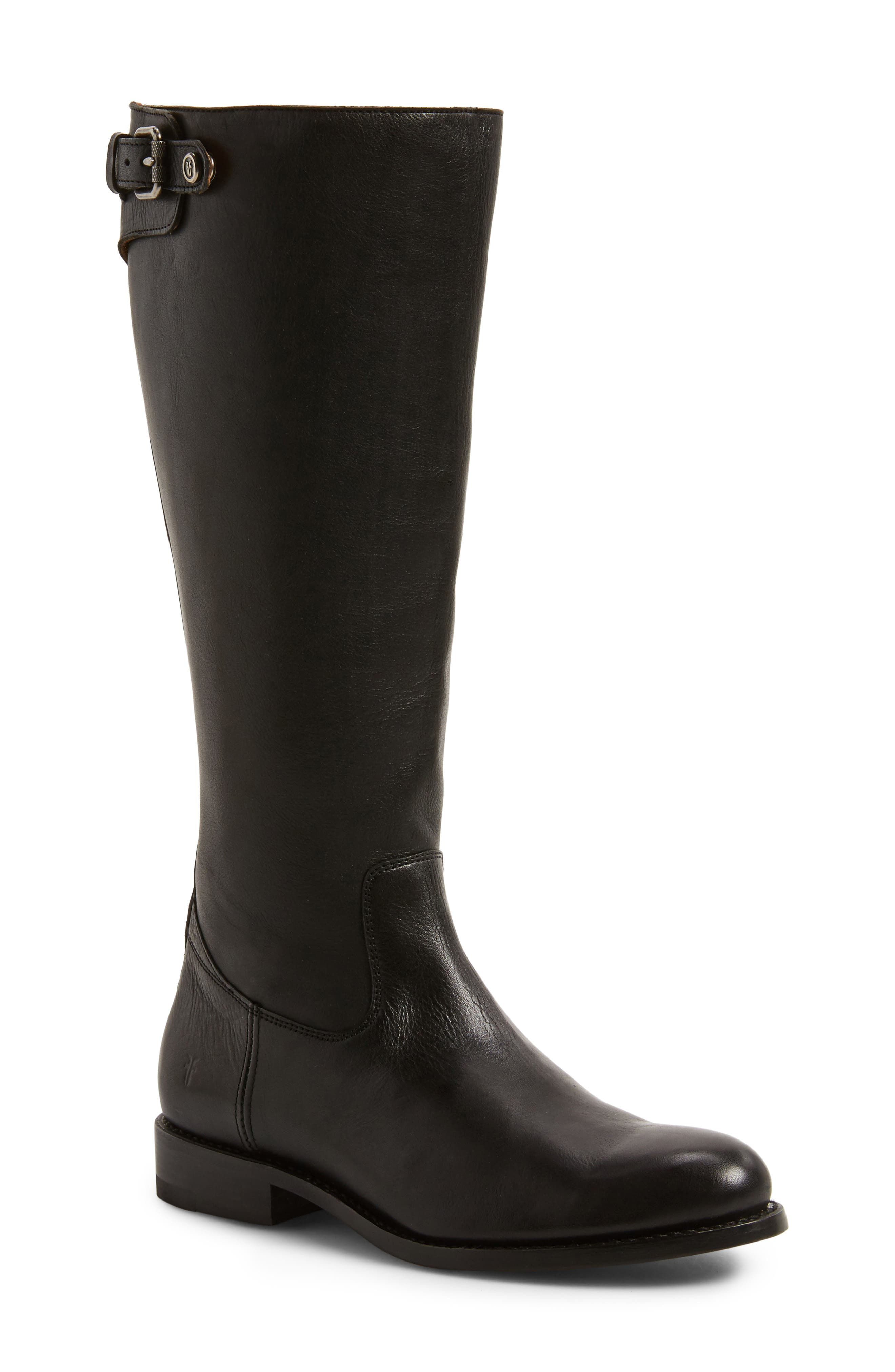 Frye Jayden Buckle Back Zip Boot, Regular Calf- Black