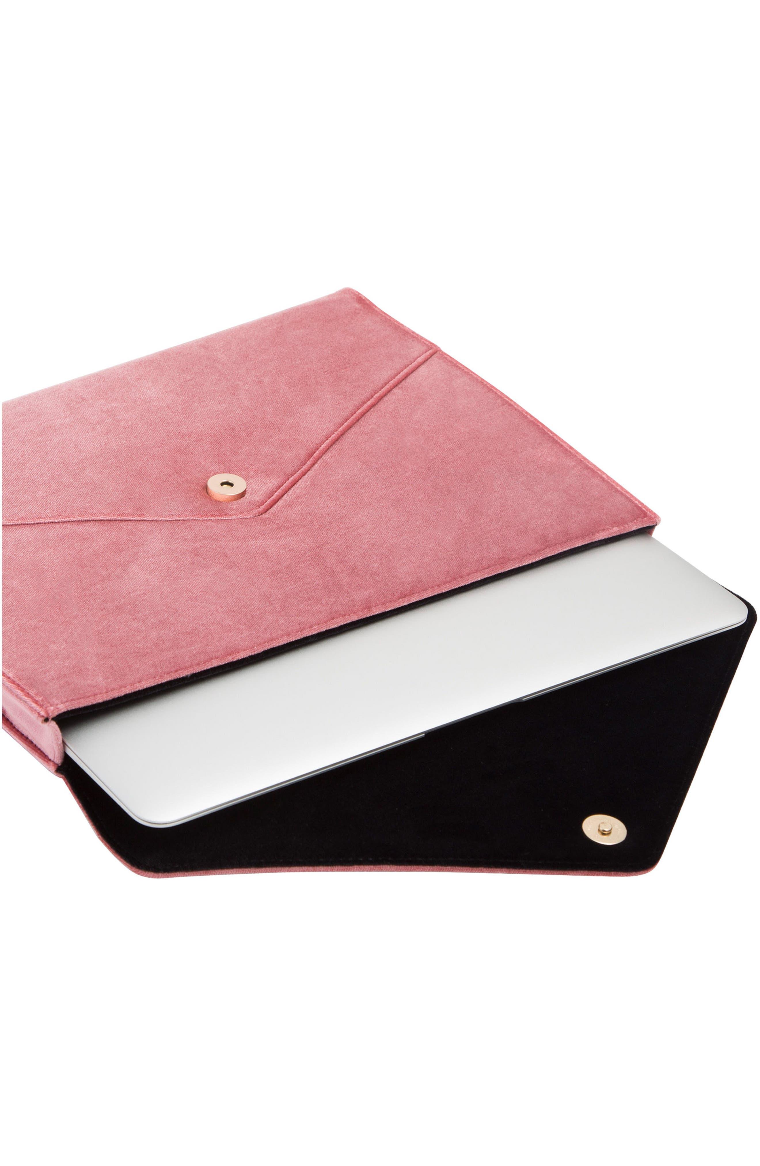 Rose Velvet Laptop Clutch,                             Alternate thumbnail 3, color,                             650