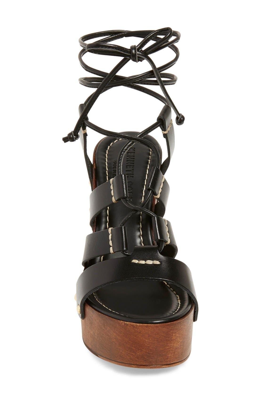 'Kenzie' Lace-Up Sandal,                             Alternate thumbnail 3, color,                             001