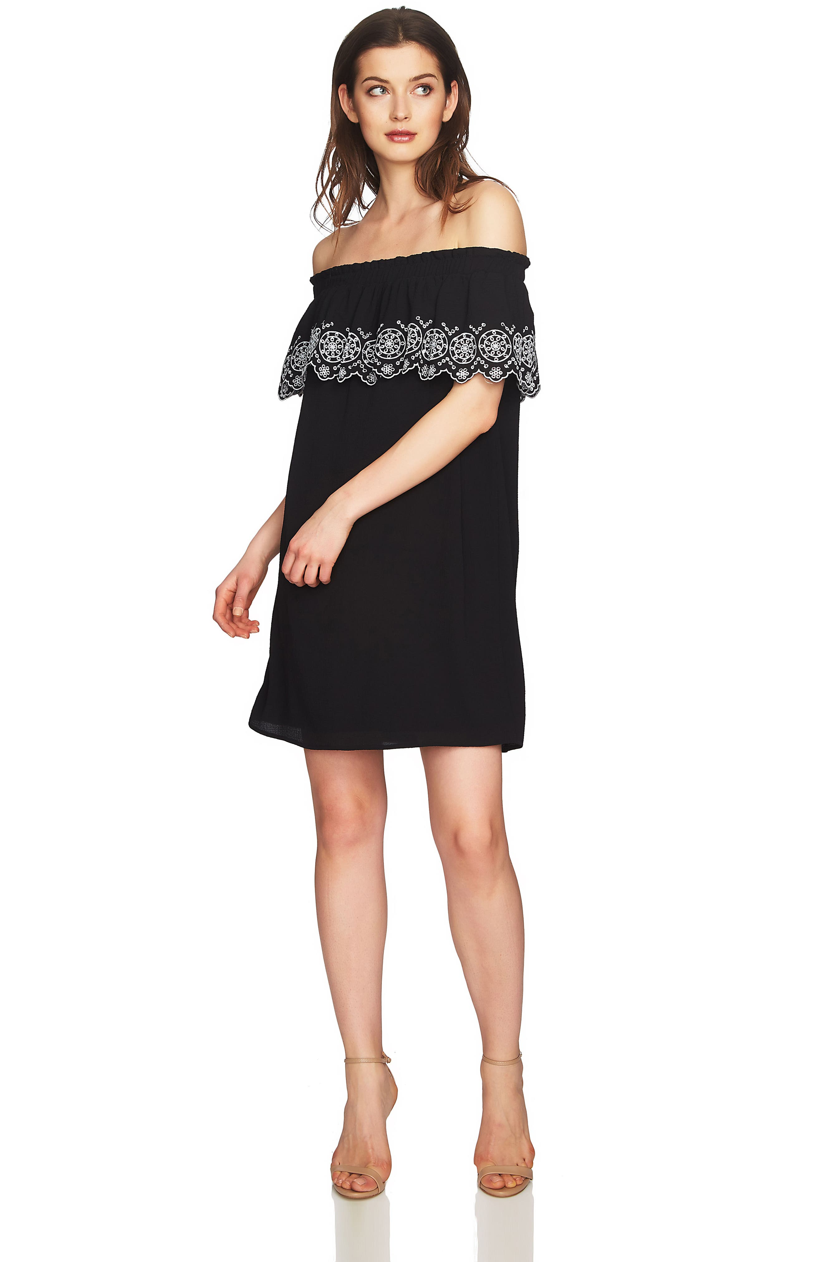 Tenley Off the Shoulder Embroidered Dress,                             Alternate thumbnail 3, color,                             001