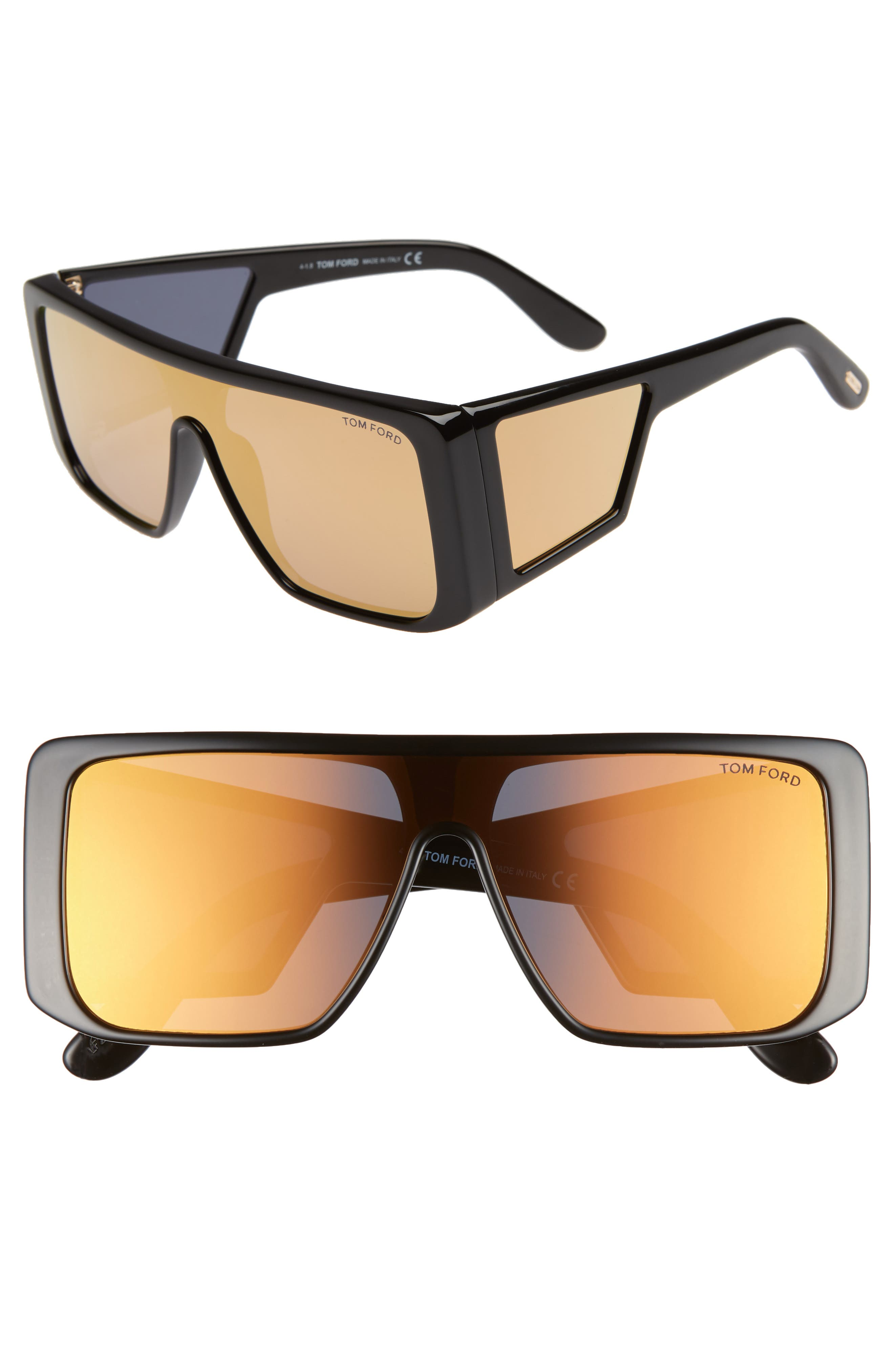 132Mm Atticus Shield Sunglasses - Black/ Rose Gold/ Brown Gold