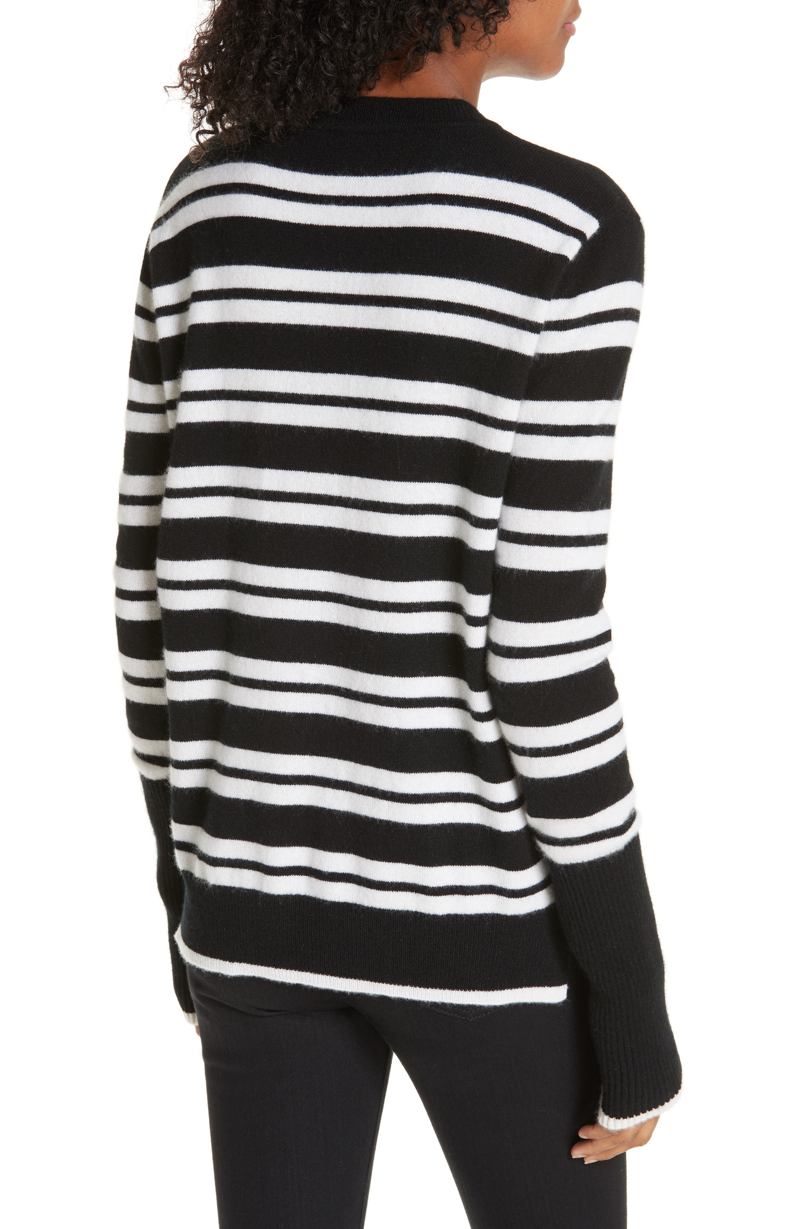 Le Ligne Tripe Stripe Cashmere Sweater,                             Alternate thumbnail 2, color,                             BLACK/ CREAM