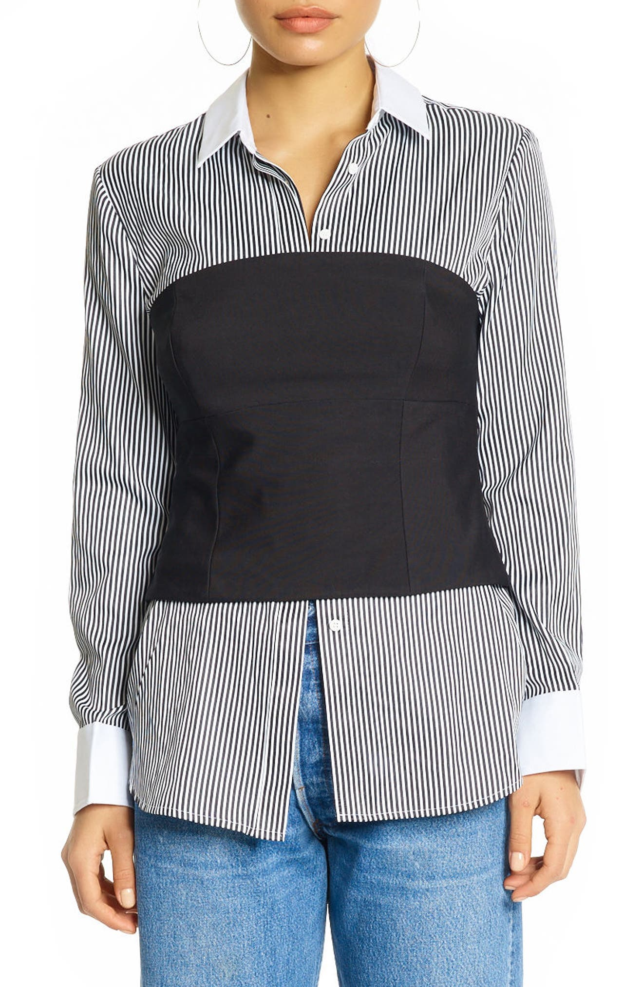 Stripe Bustier Shirt,                             Main thumbnail 1, color,                             BLACK/ WHITE