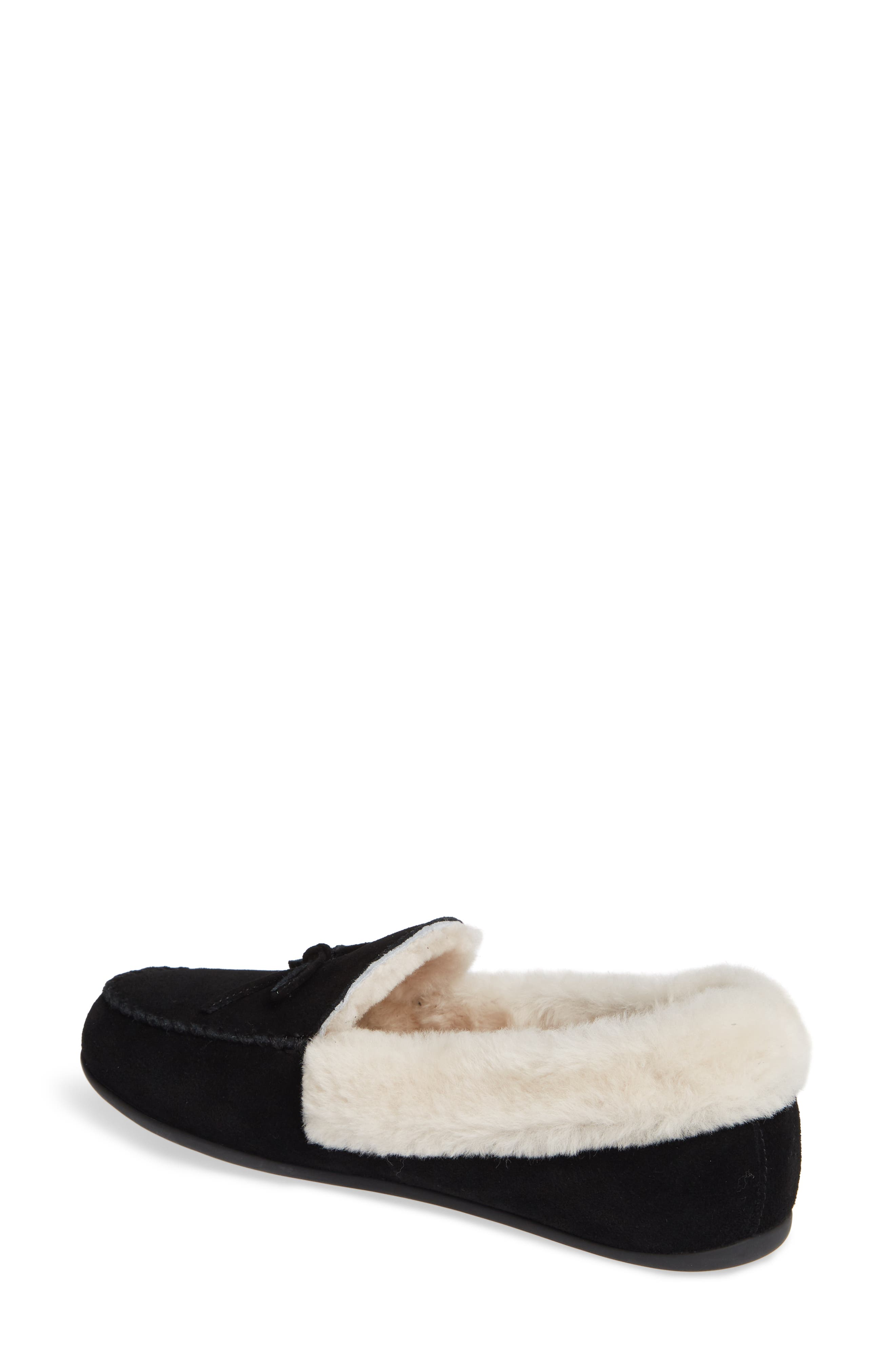 Clara Genuine Shearling Lined Moccasin,                             Alternate thumbnail 2, color,                             BLACK SUEDE
