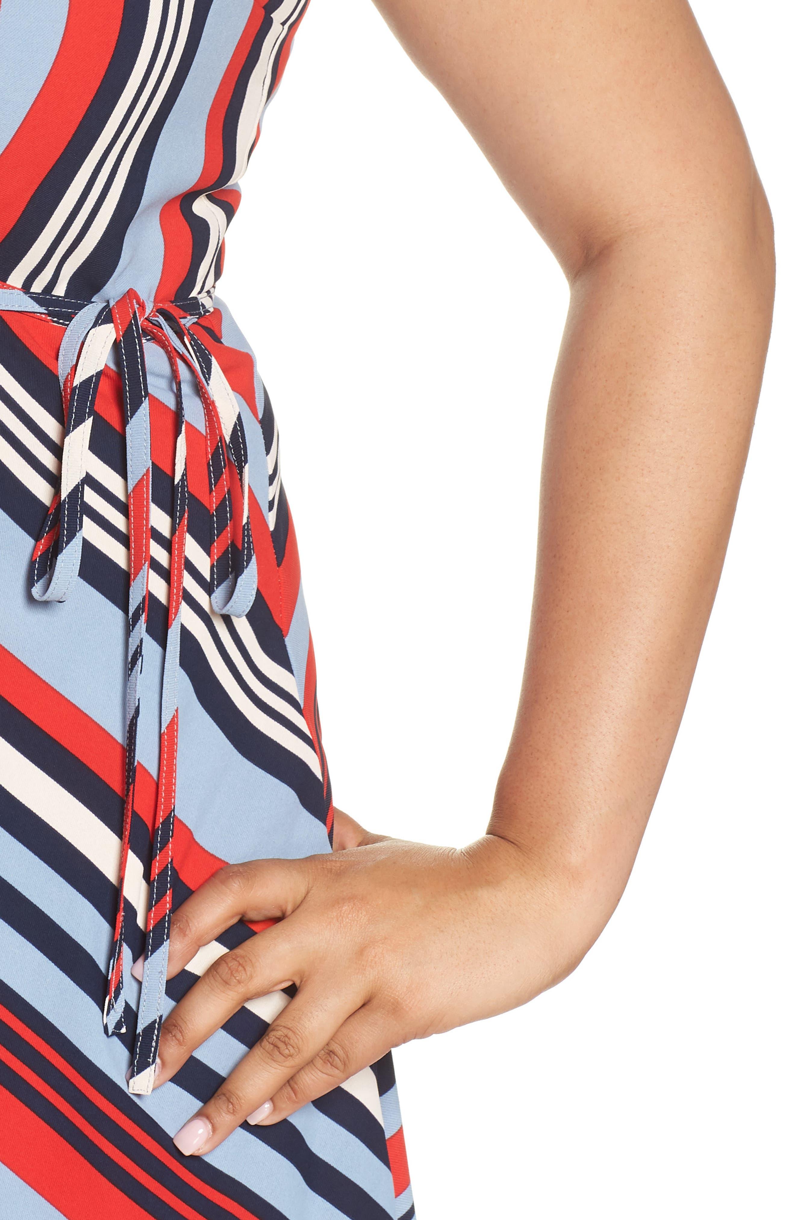 Milan Stripe Wrap Dress,                             Alternate thumbnail 4, color,