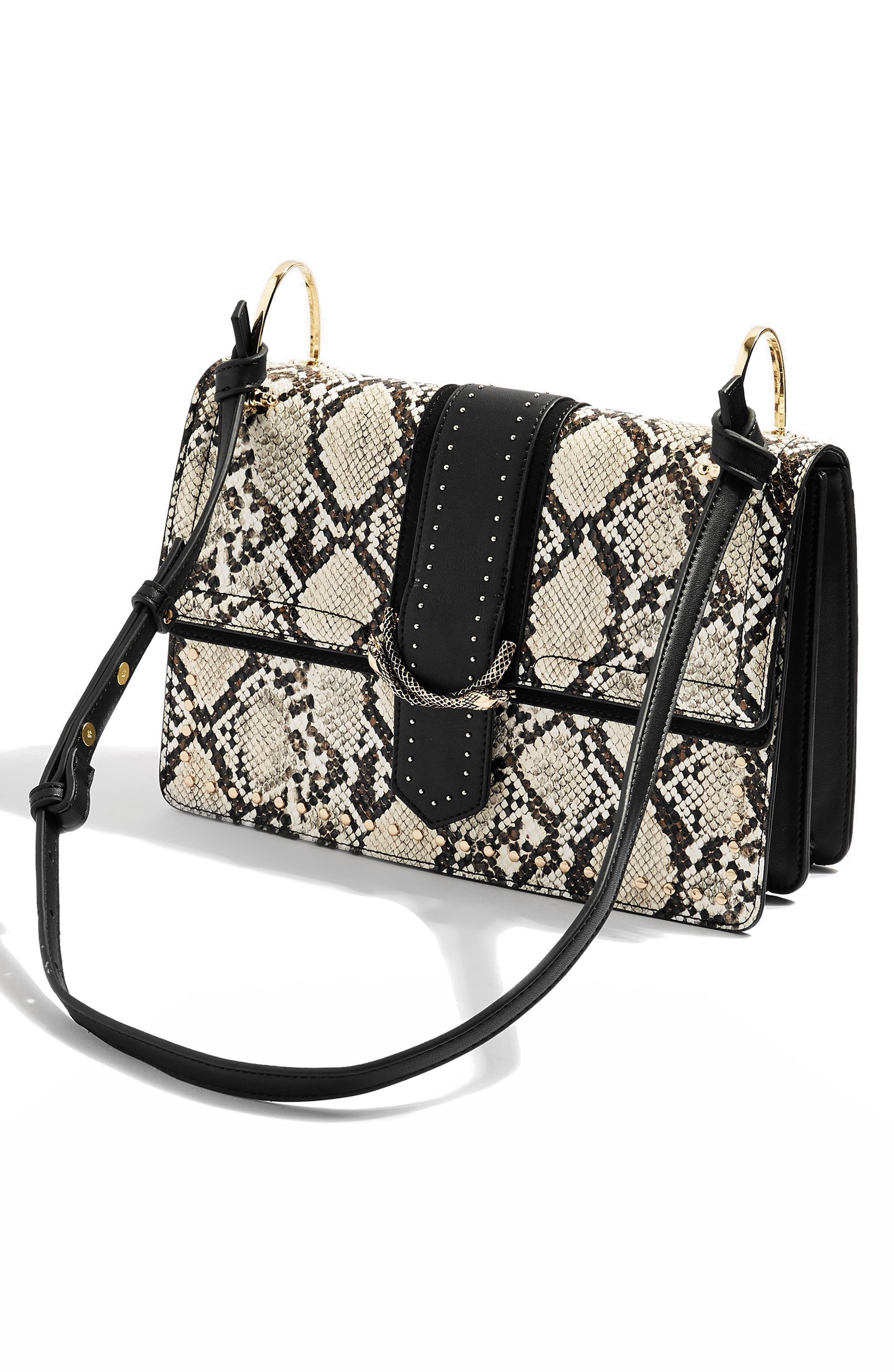 Suri Snake Effect Shoulder Bag,                             Alternate thumbnail 5, color,                             BLACK MULTI