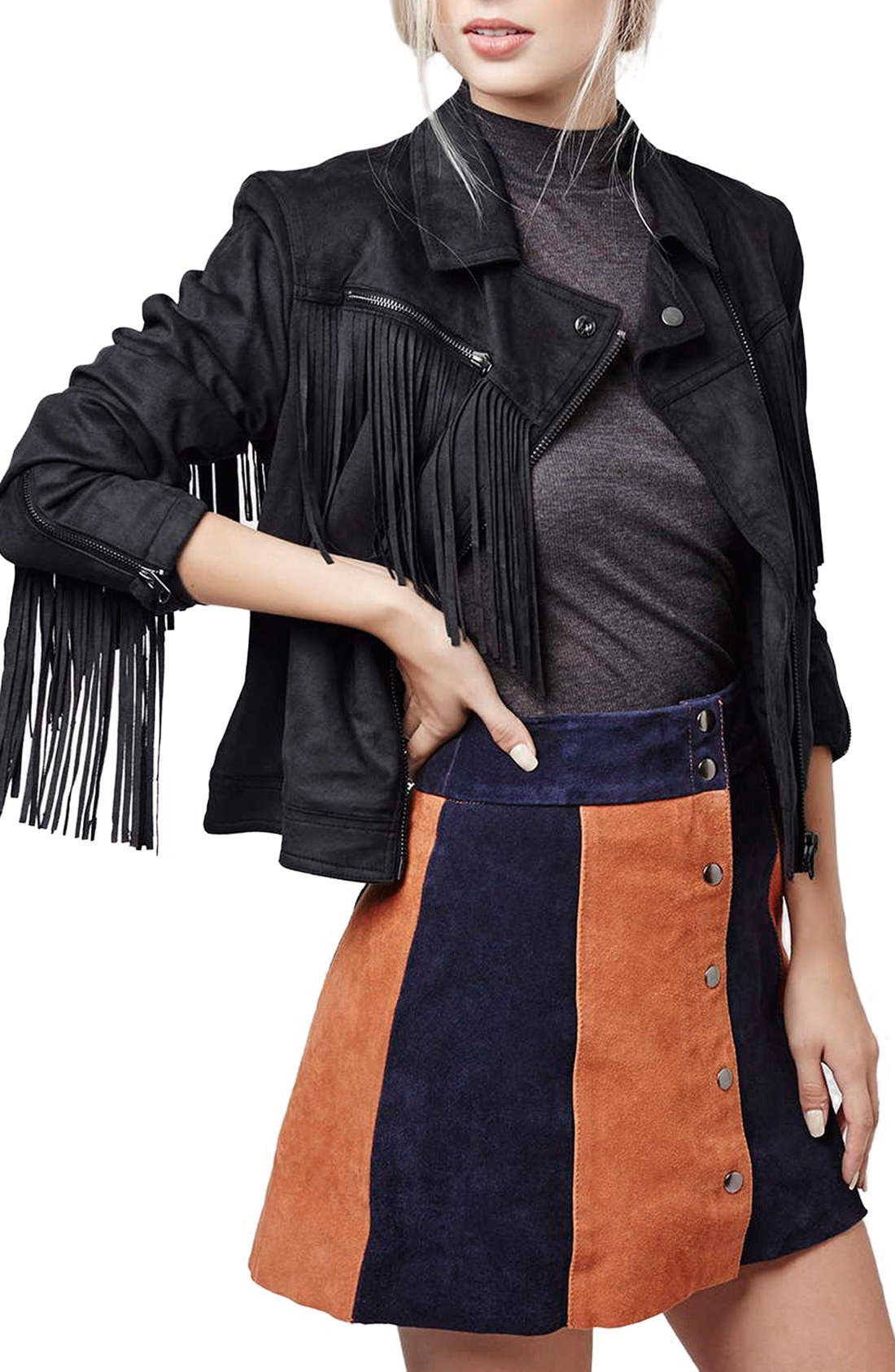 'Fliss' Asymmetrical Faux Suede Biker Jacket, Main, color, 410